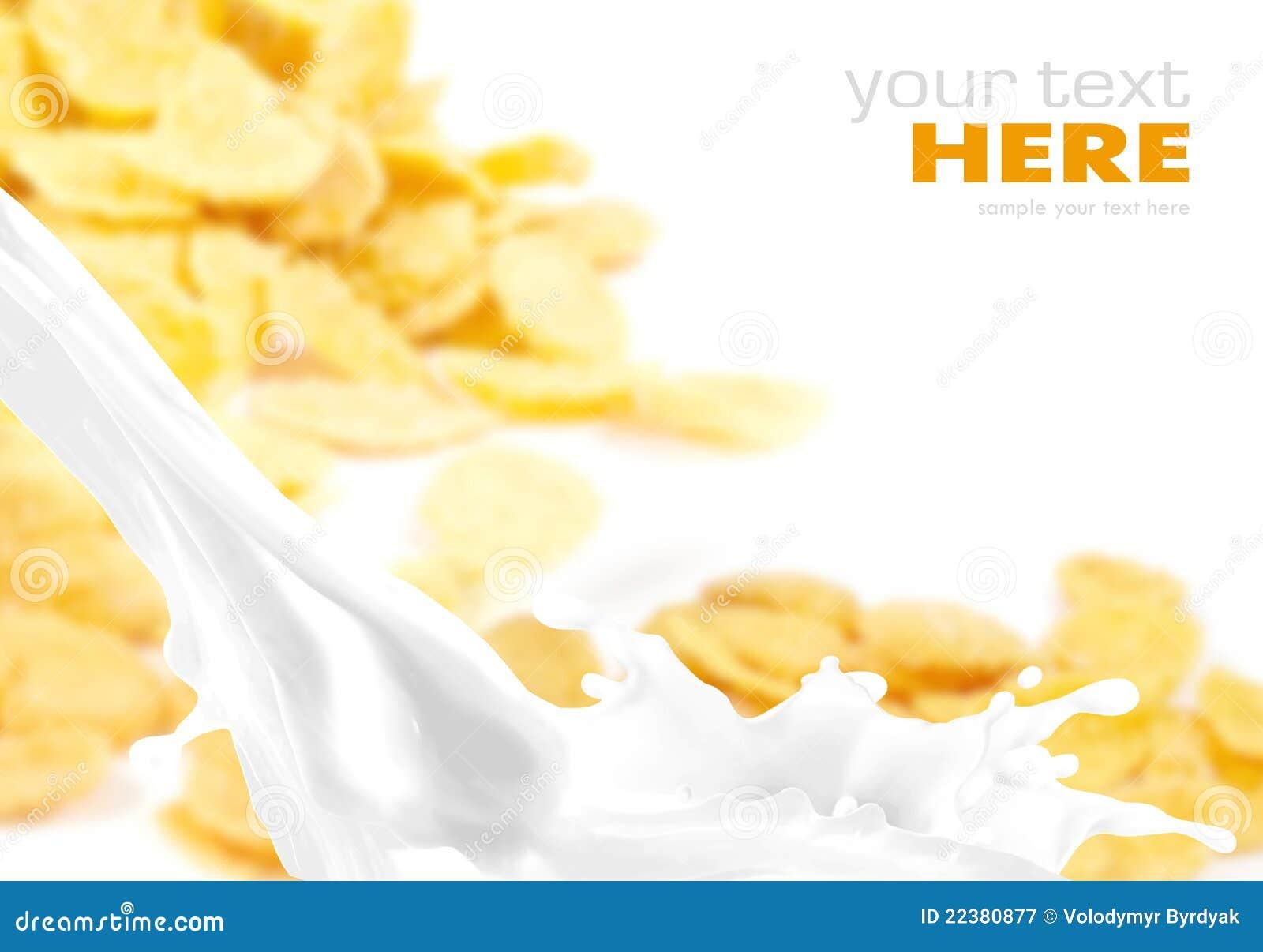Respingo do leite em flocos de milho