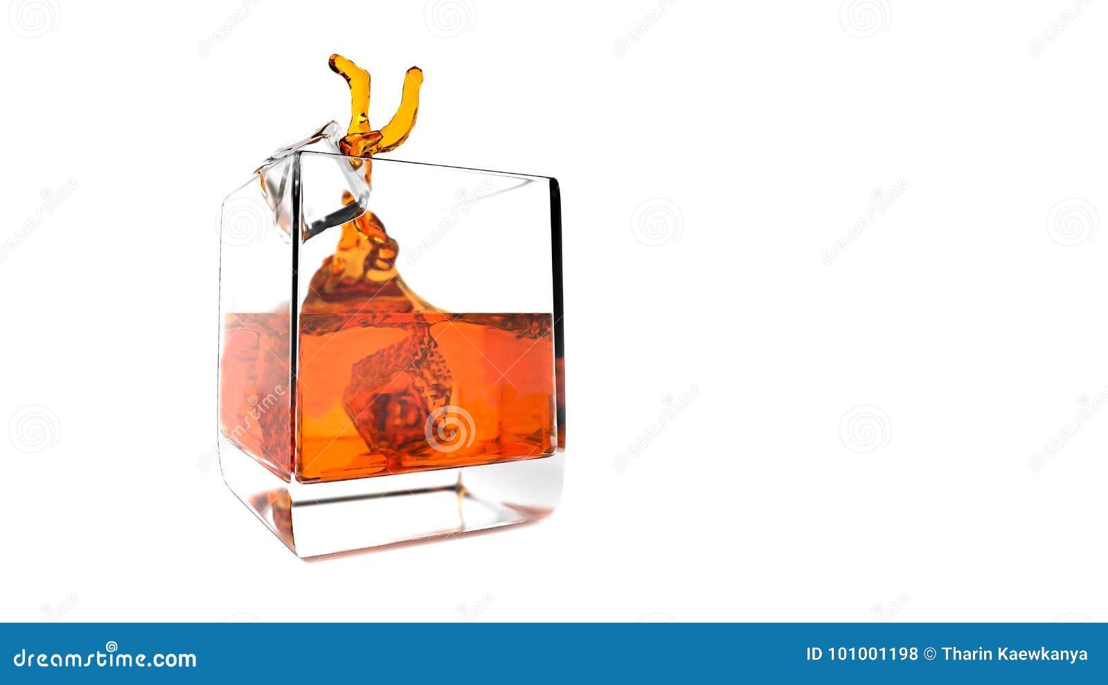 Respingo do uísque com gelo