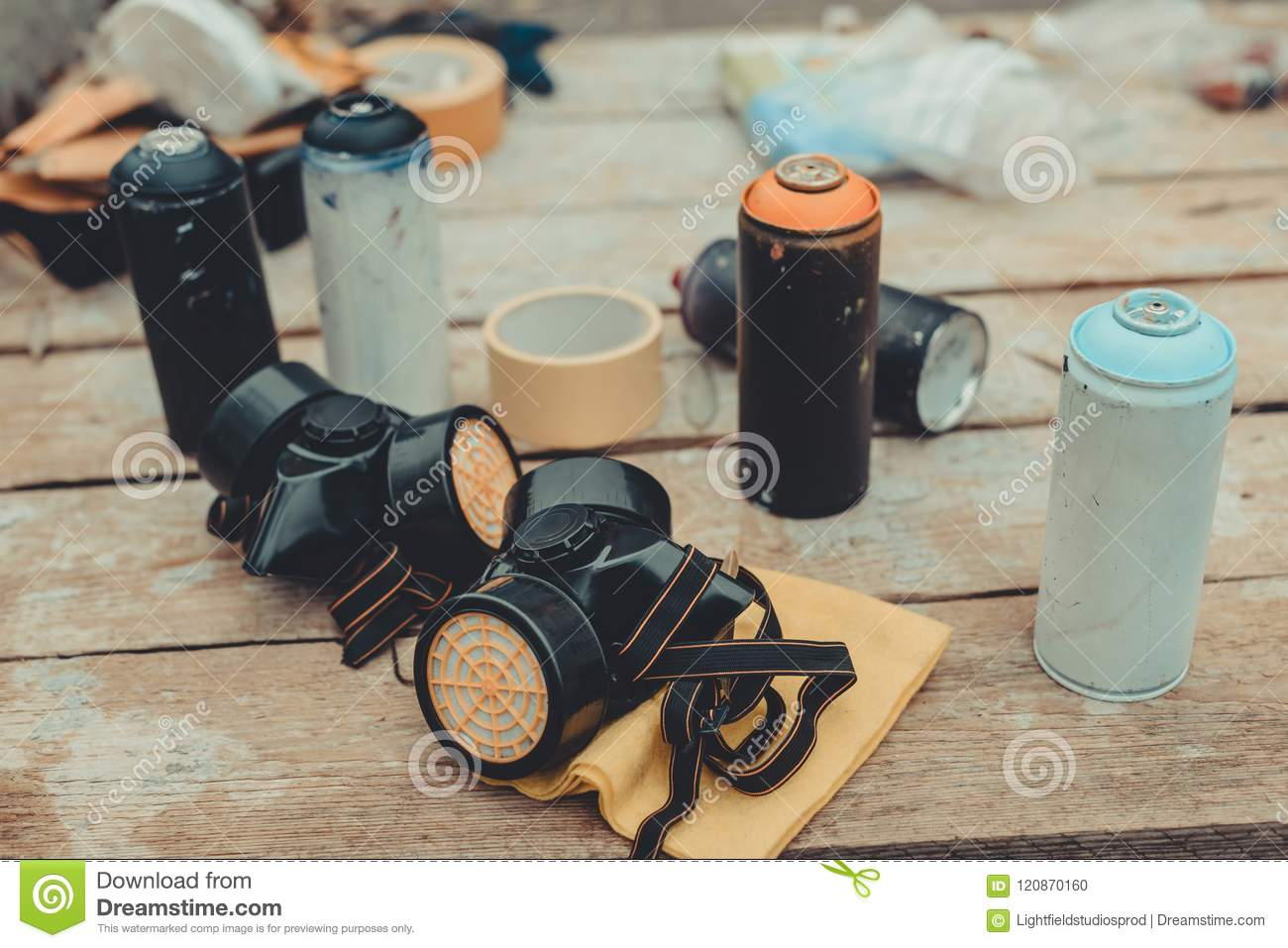 Respirators And Cans With Colorful Spray Paint Stock Photo Image Of Painting City 120870160