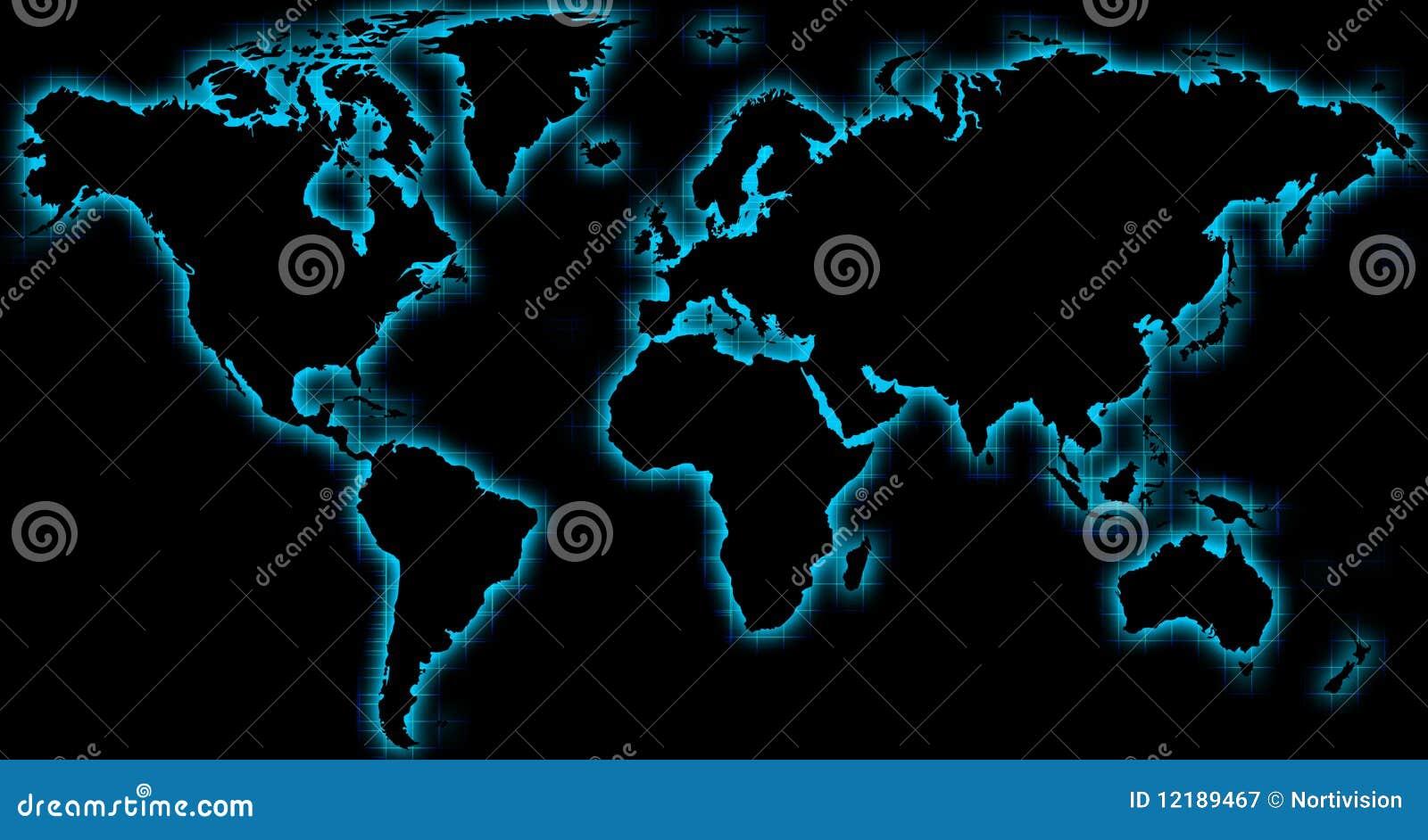 Resplandor azul del negro de la correspondencia de mundo