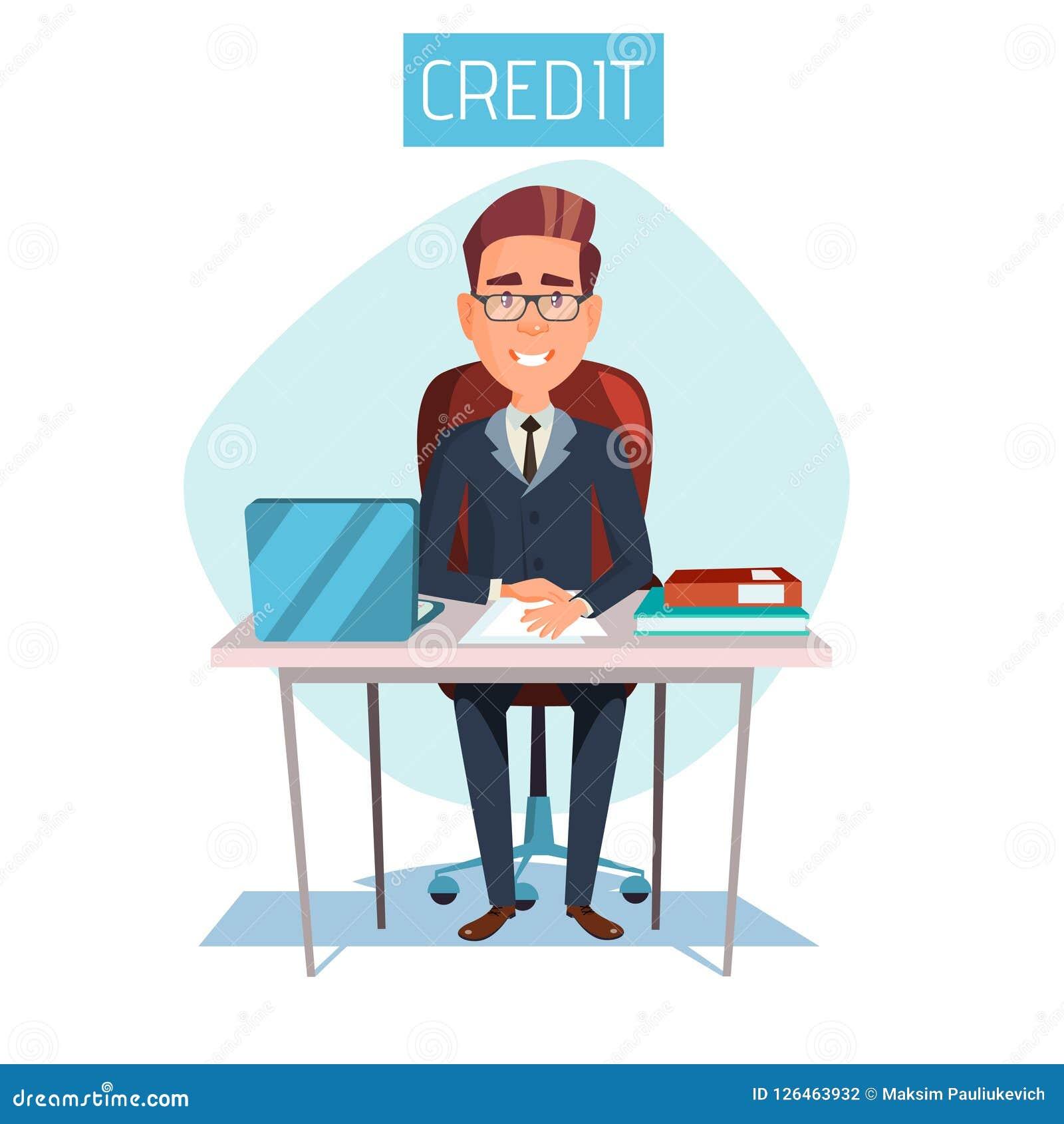 Responsabile del fumetto nel posto di lavoro dell ufficio di credito