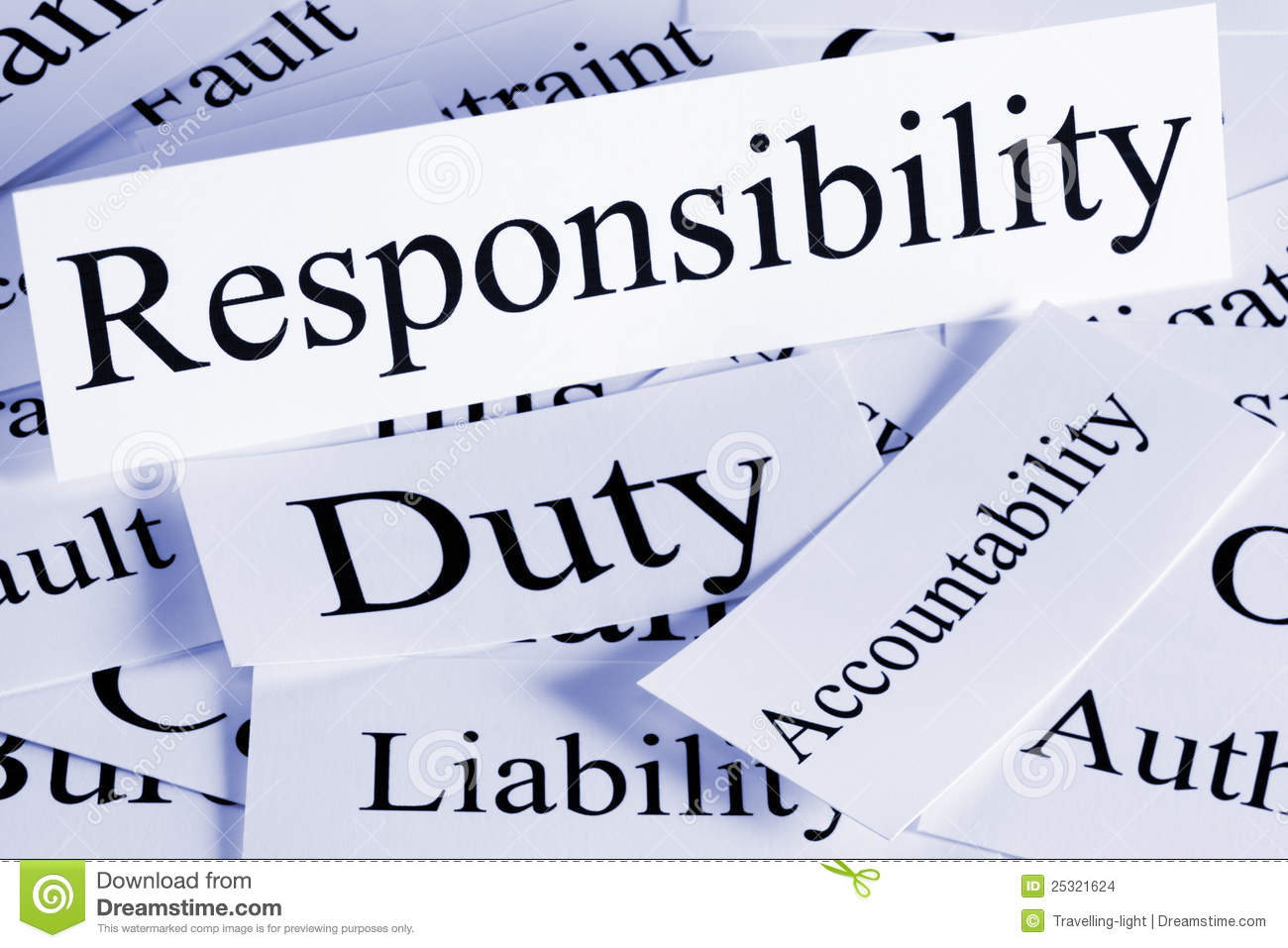 conceptual look at responsibility, Duty, Accountability, Liability.