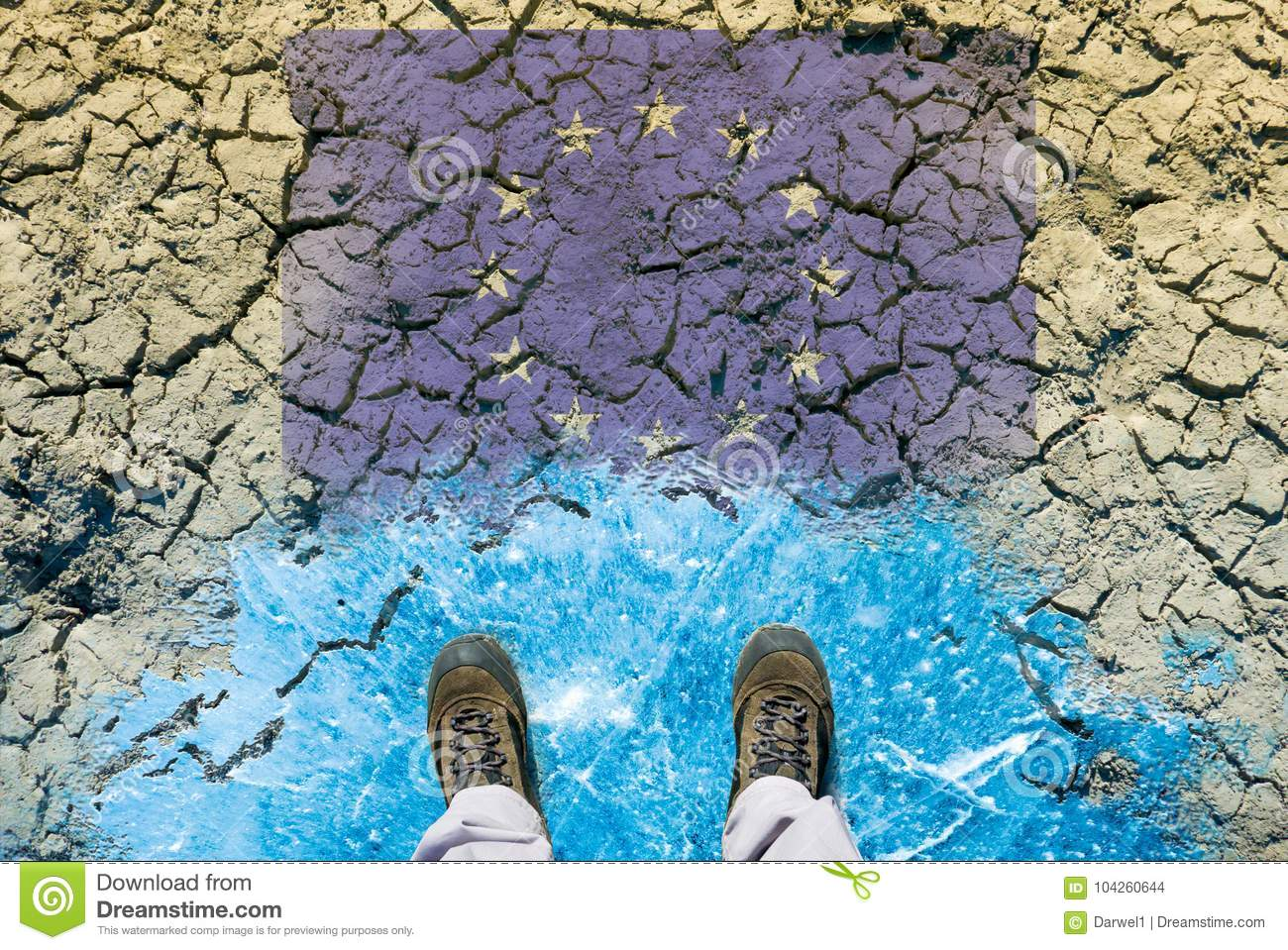 Climate change concept, dried land, ice and european flag