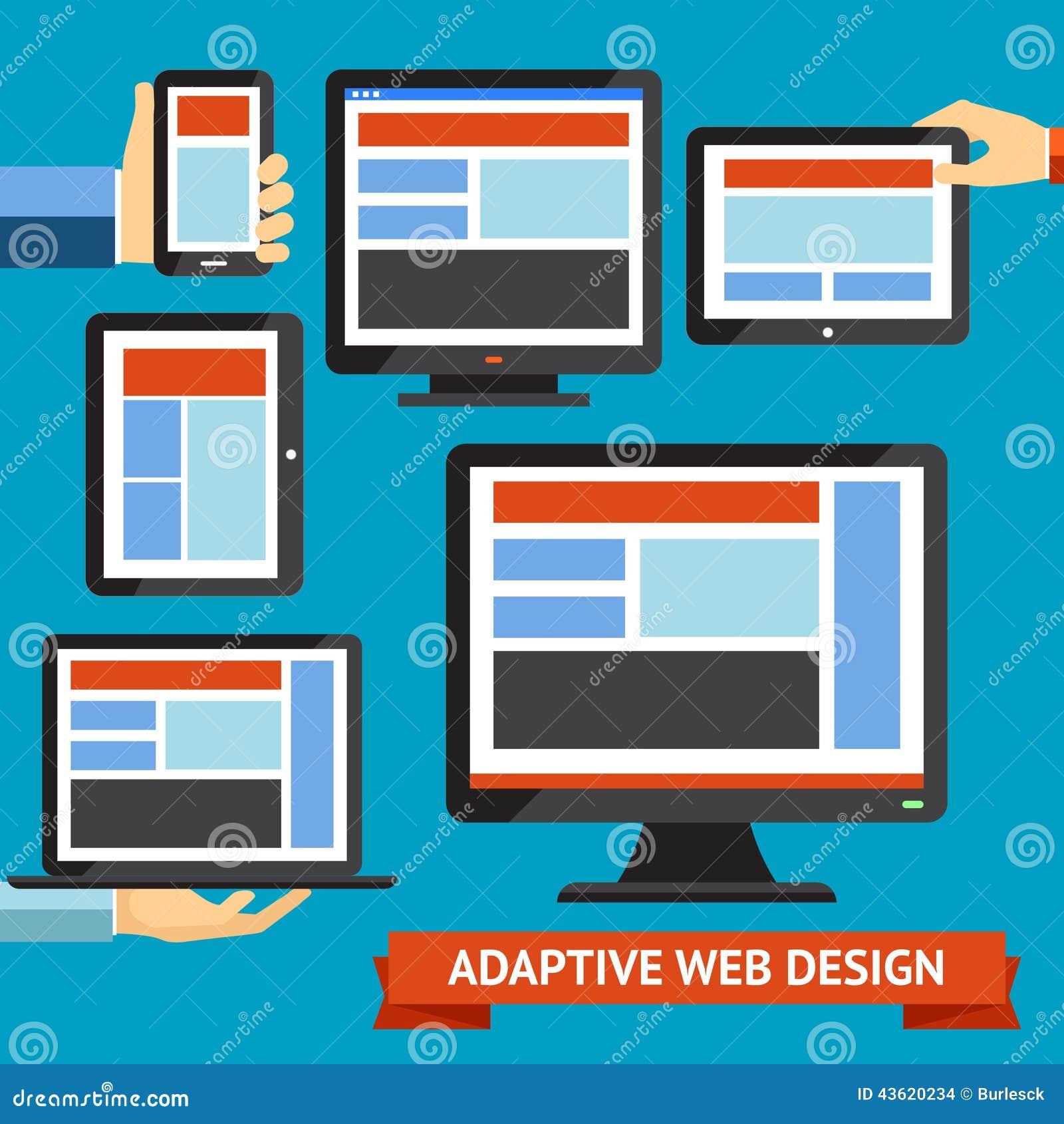 Responsive Web Design Flat Graphics Vector: Responsive And Adaptive Design Stock Vector