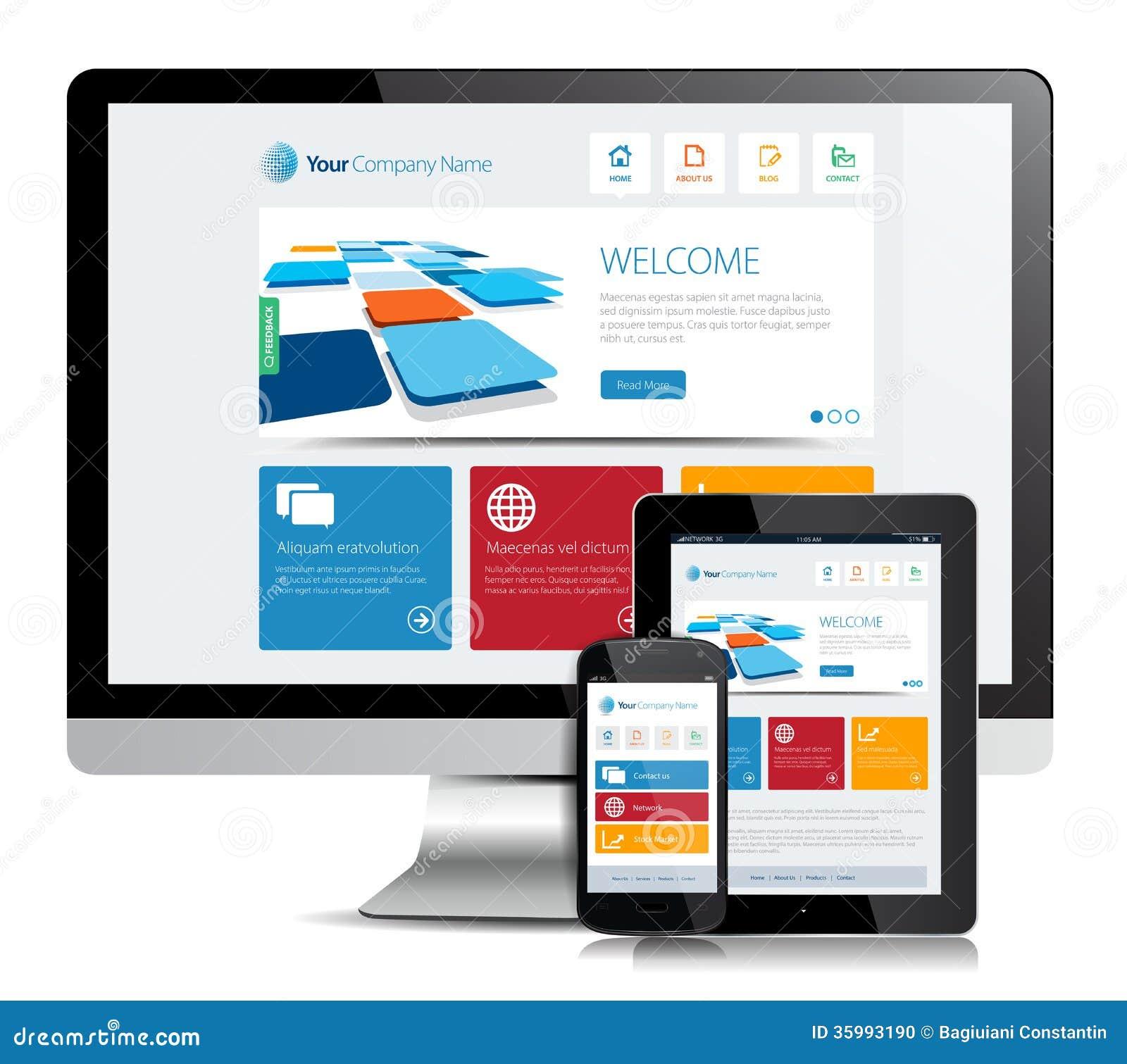 responsive app design stock vector illustration of blue. Black Bedroom Furniture Sets. Home Design Ideas