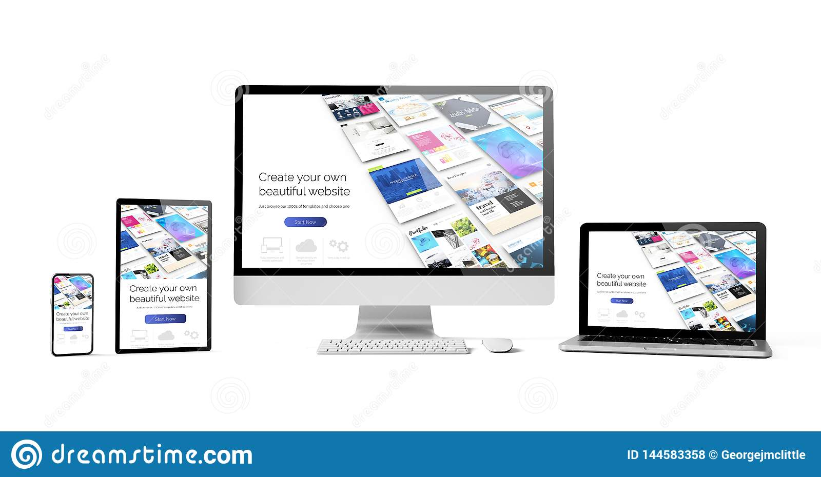 responsive devices isolated design website builder