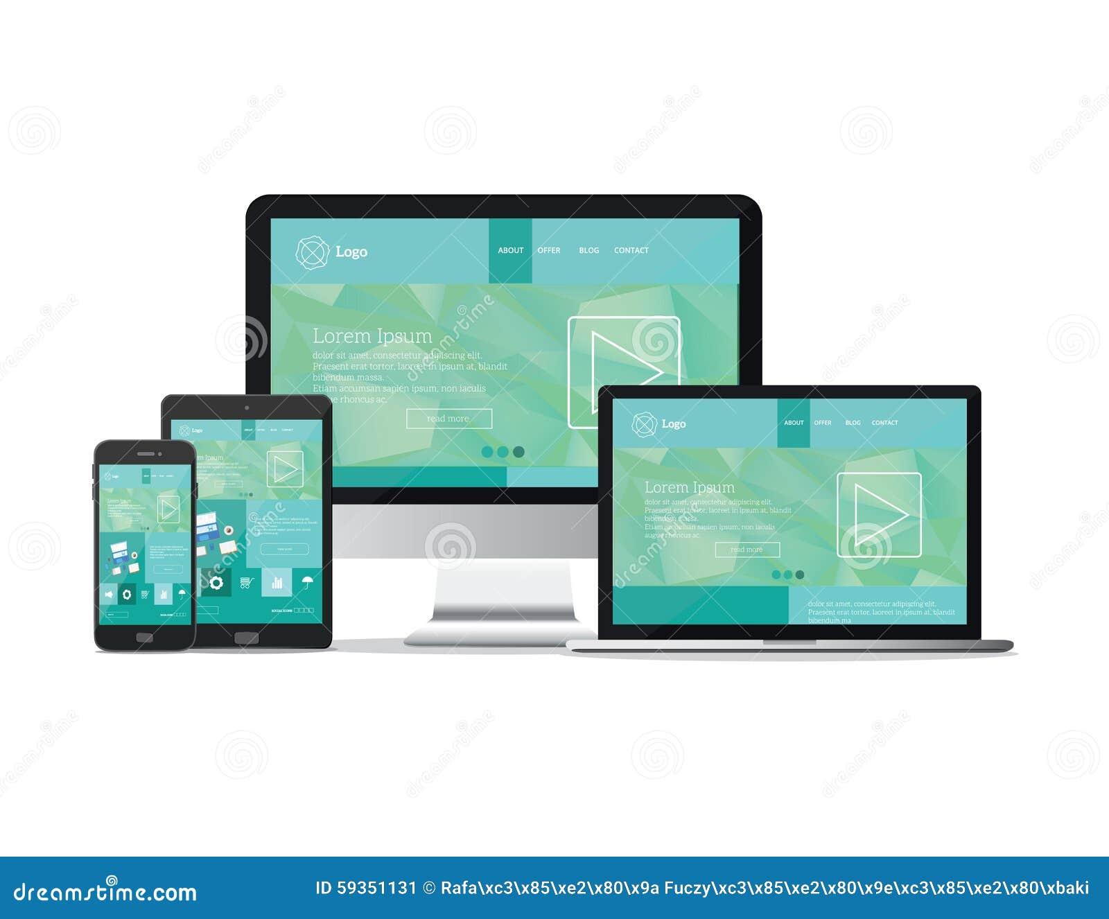 Responsive Design Website Template Modern Flat Vector: Responsive Devices Website Template Stock Vector