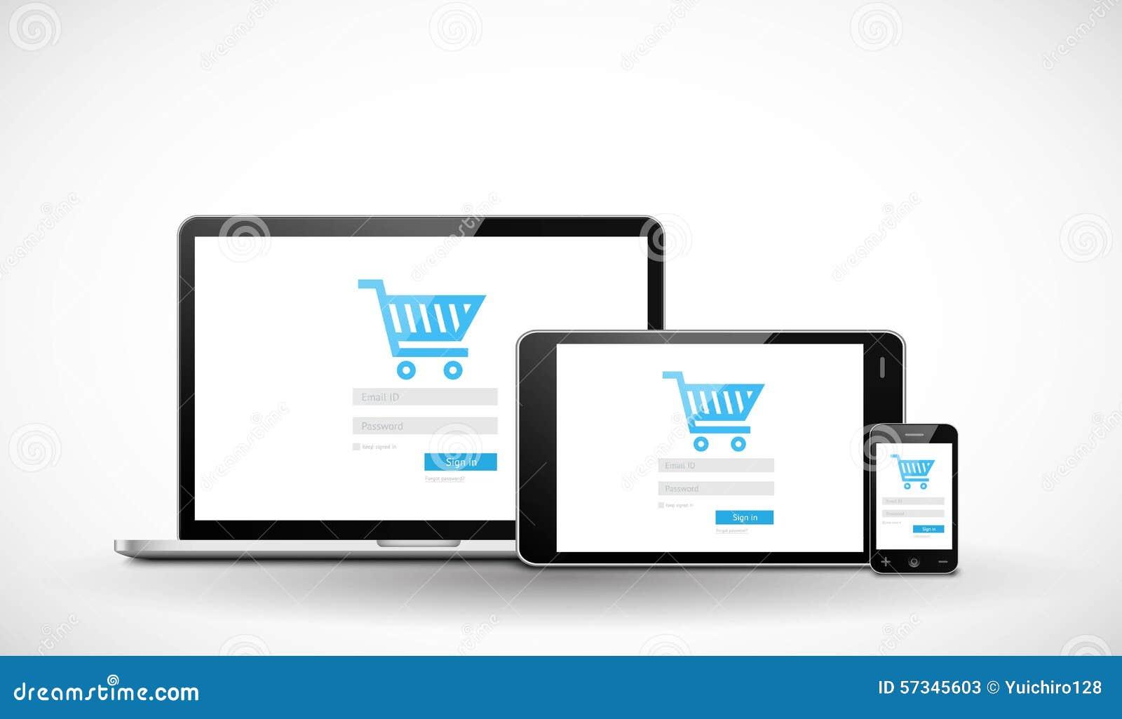 Responsive Web Template Stock Vector - Image: 58411497