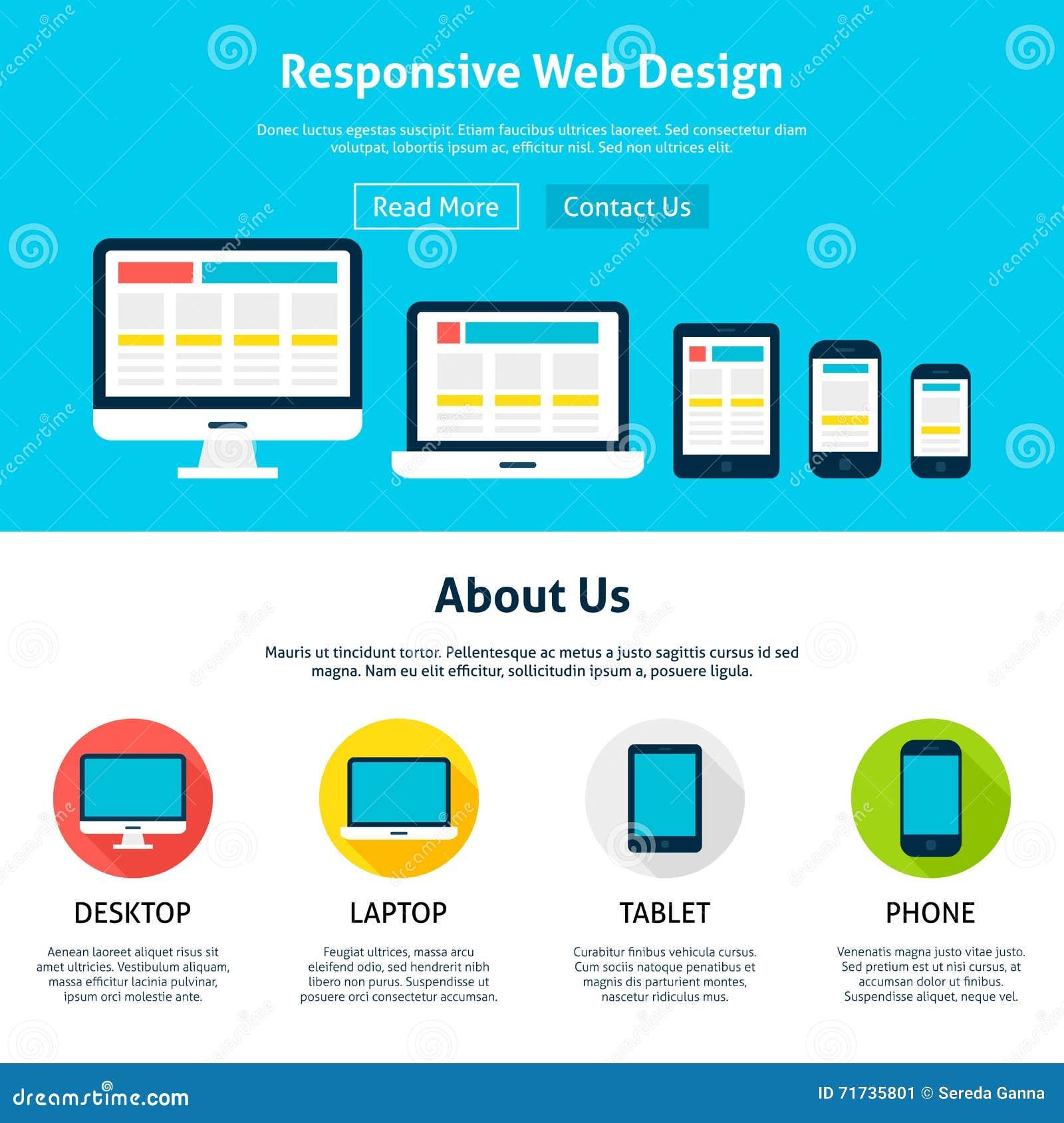 Responsive And Flat Desgin Website Psd Template Download: Responsive Flat Web Design Template Stock Vector