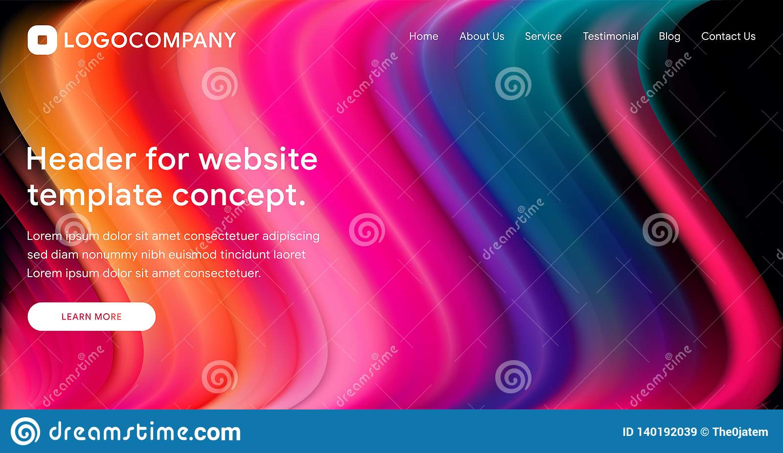 Responsive landing page or web template design with 3D isometric illustration of fluid bright gradient background. Liquid color