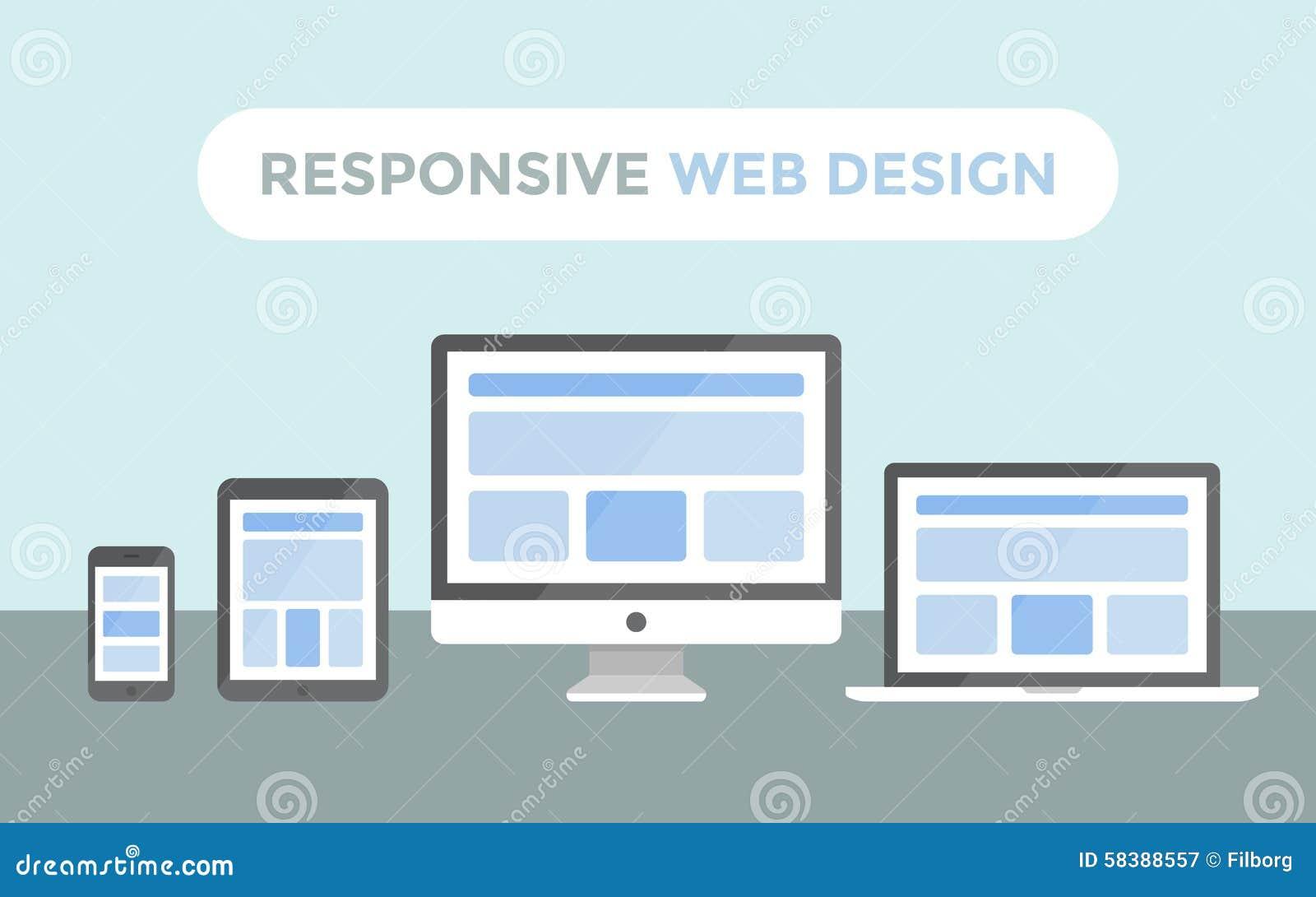 Modern Responsive Web Design Computer Laptop Tab Cartoon