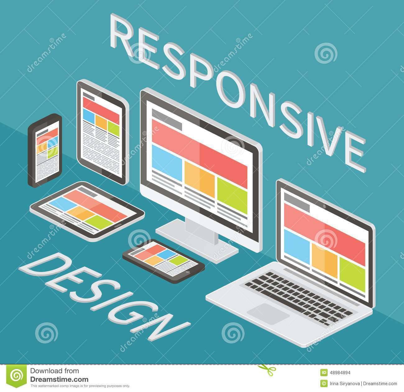Responsive Web Design 3d Isometric Flat Vector Stock