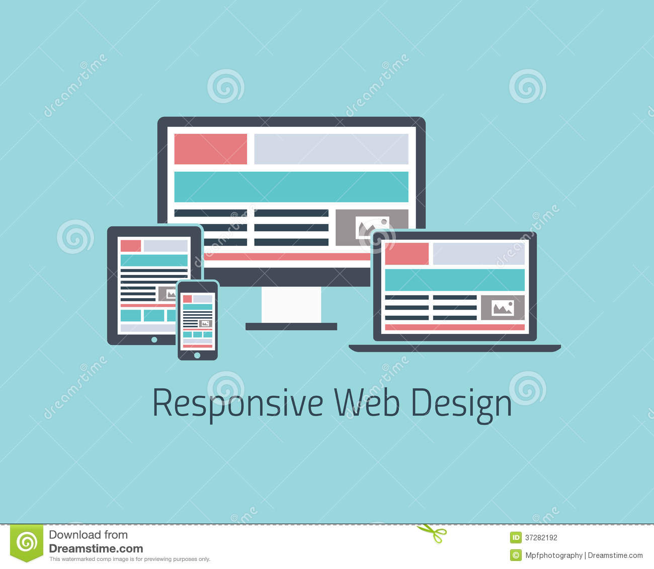 Flat Responsive Site Design Vector: Responsive Web Design Development Vector Flat Styl Stock
