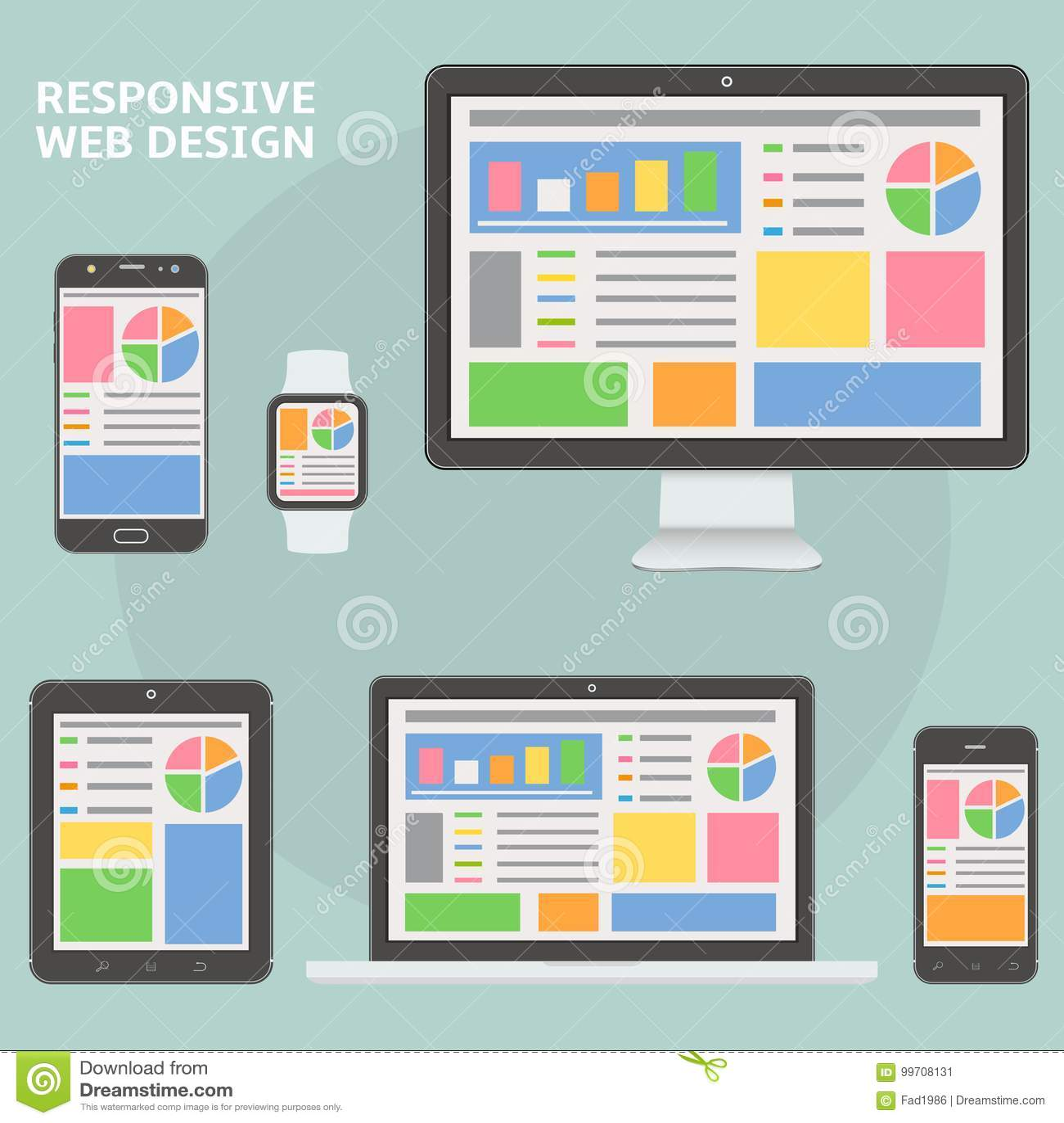 Flat Style Responsive Webdesign Technology Stock Vector: Responsive Web Design Flat Style Devices Stock Vector