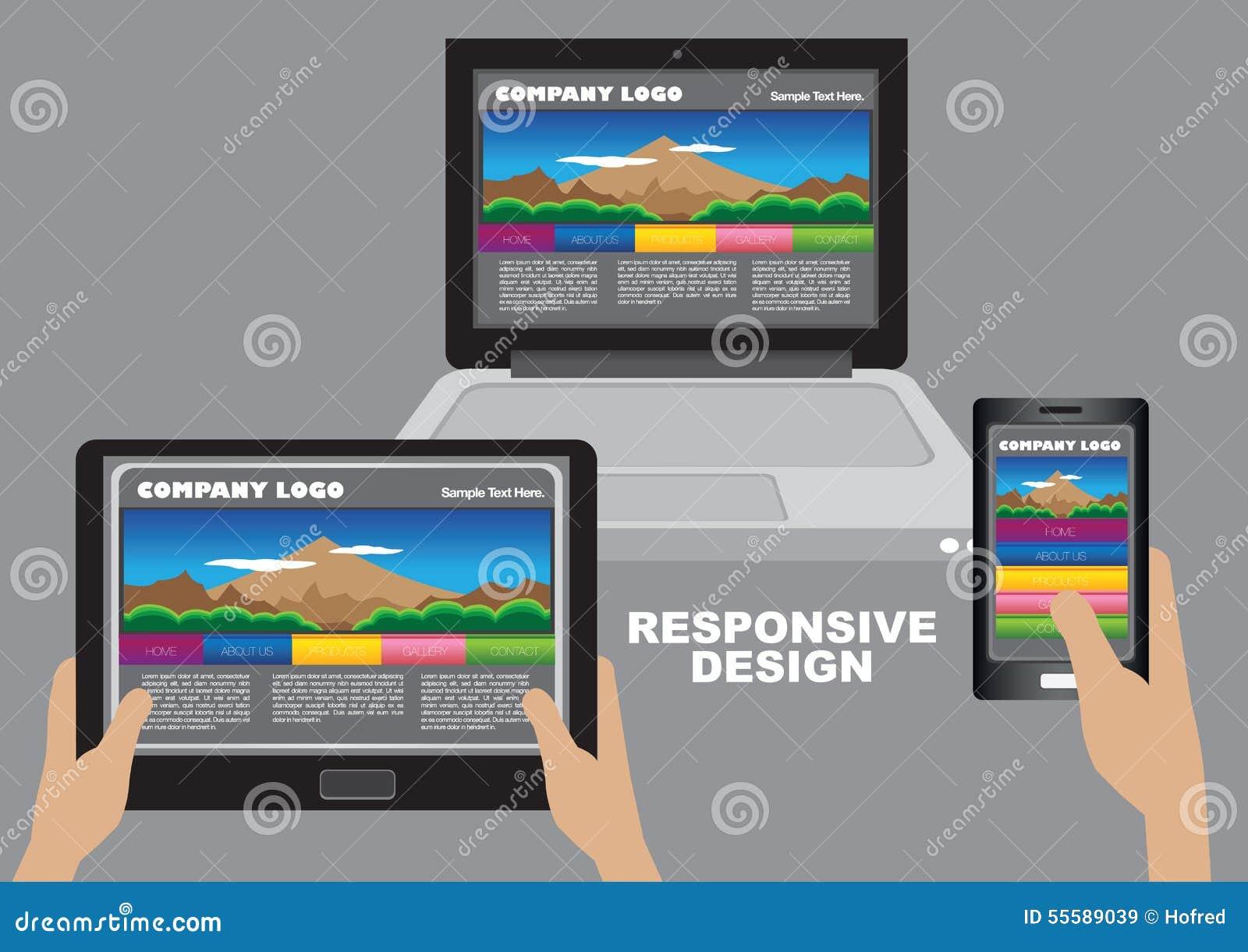 responsive web design layout design stock vector image. Black Bedroom Furniture Sets. Home Design Ideas