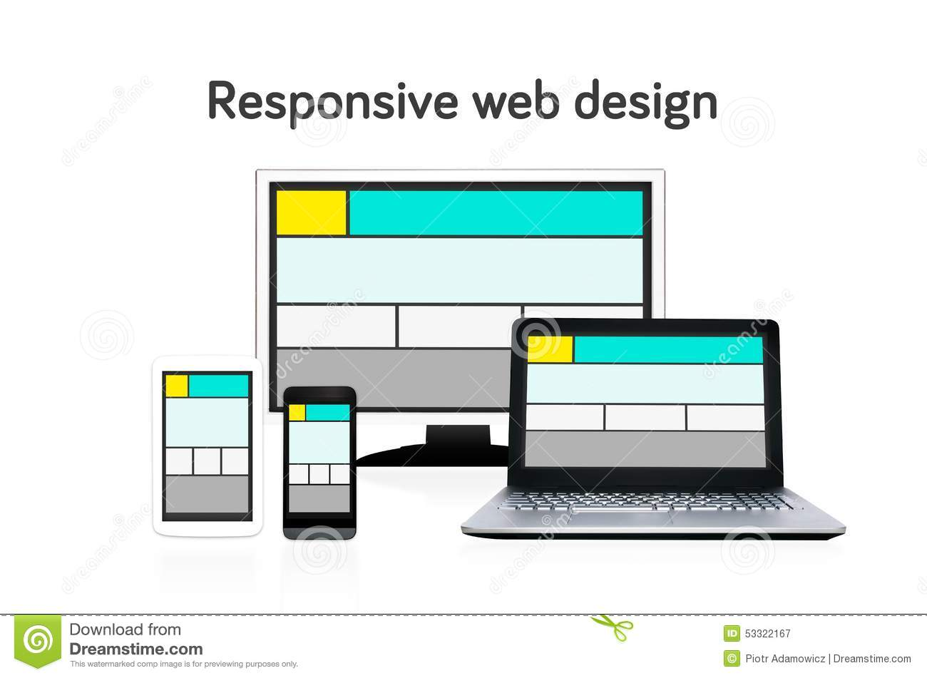 Responsive web design layout on different devices.