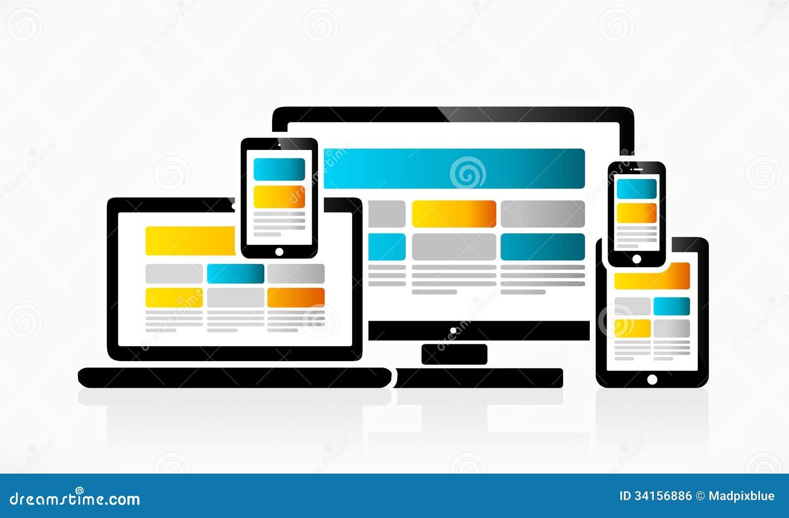 Vector Illustration Web Designs: Responsive Web Design Royalty Free Stock Image