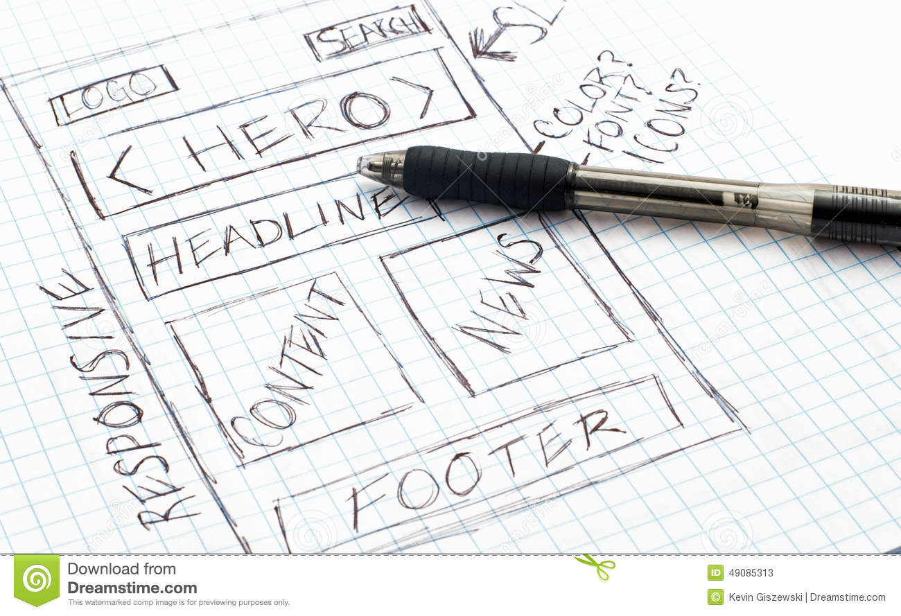 Responsive Web Design Sketch Stock Illustration Image