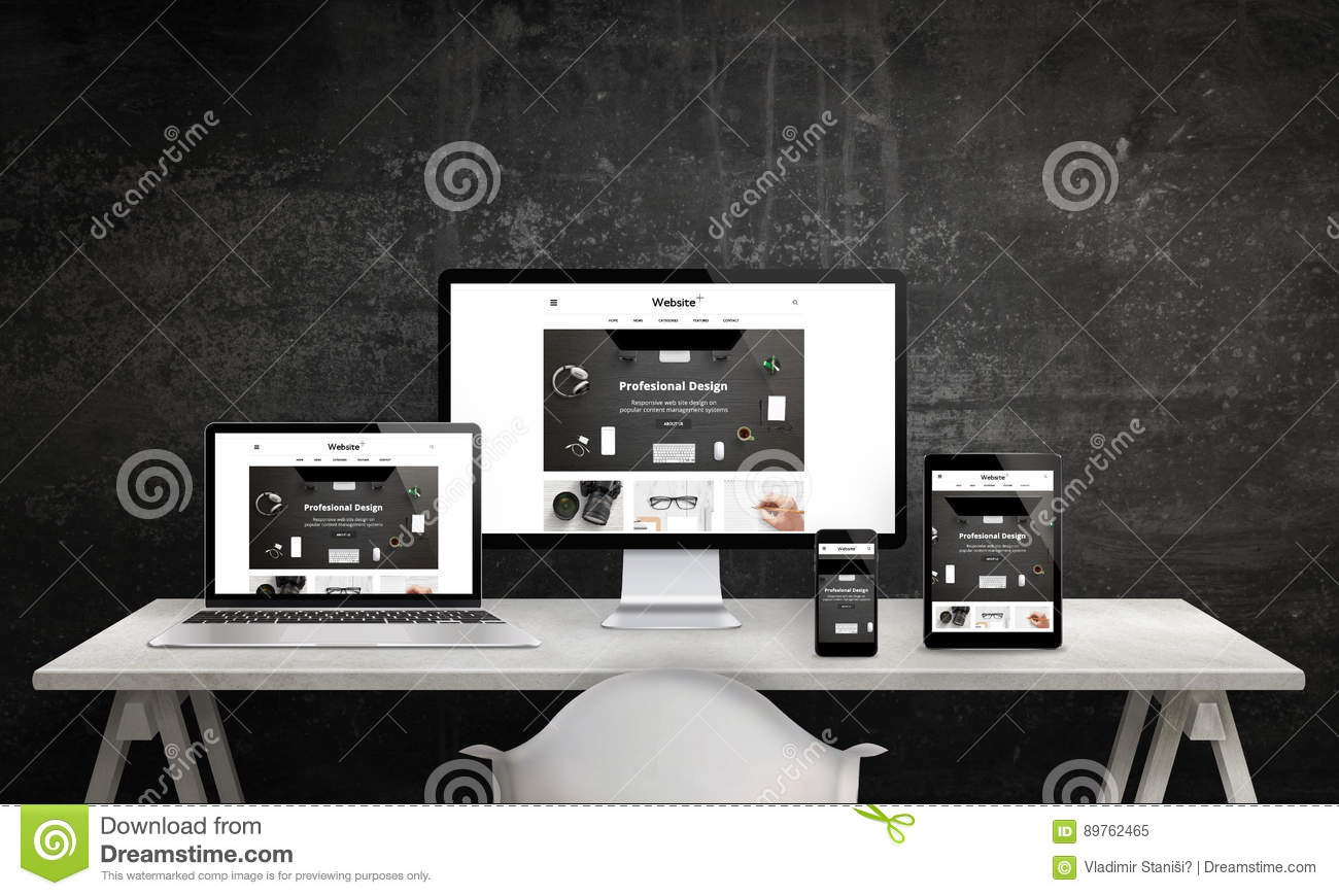 Responsive web site promotion on computer display, laptop, tablet and smart phone
