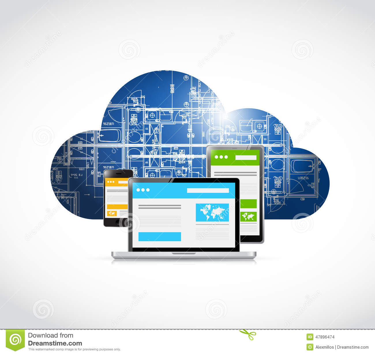Responsive web technology blueprint cloud stock illustration responsive web technology blueprint cloud malvernweather Image collections