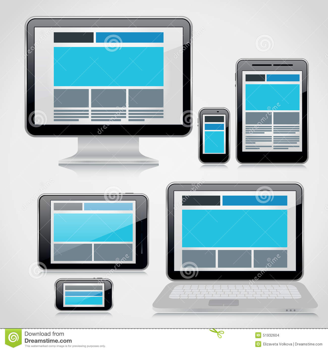Responsive Webdesign Technology Page Design Stock Vector