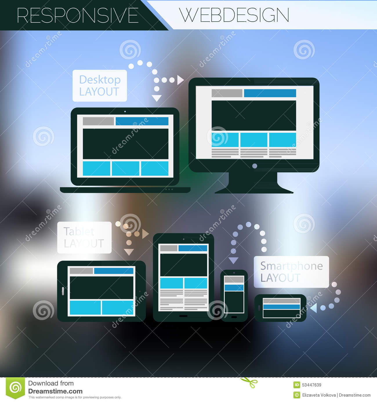 Responsive Webdesign Technology Page Design Template Concept Stock