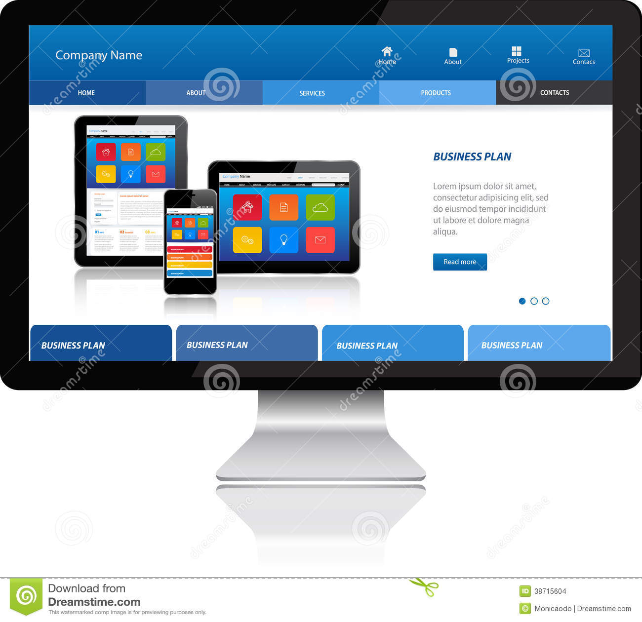 Responsive website template on modern computer stock vector responsive website template on modern computer accmission Image collections