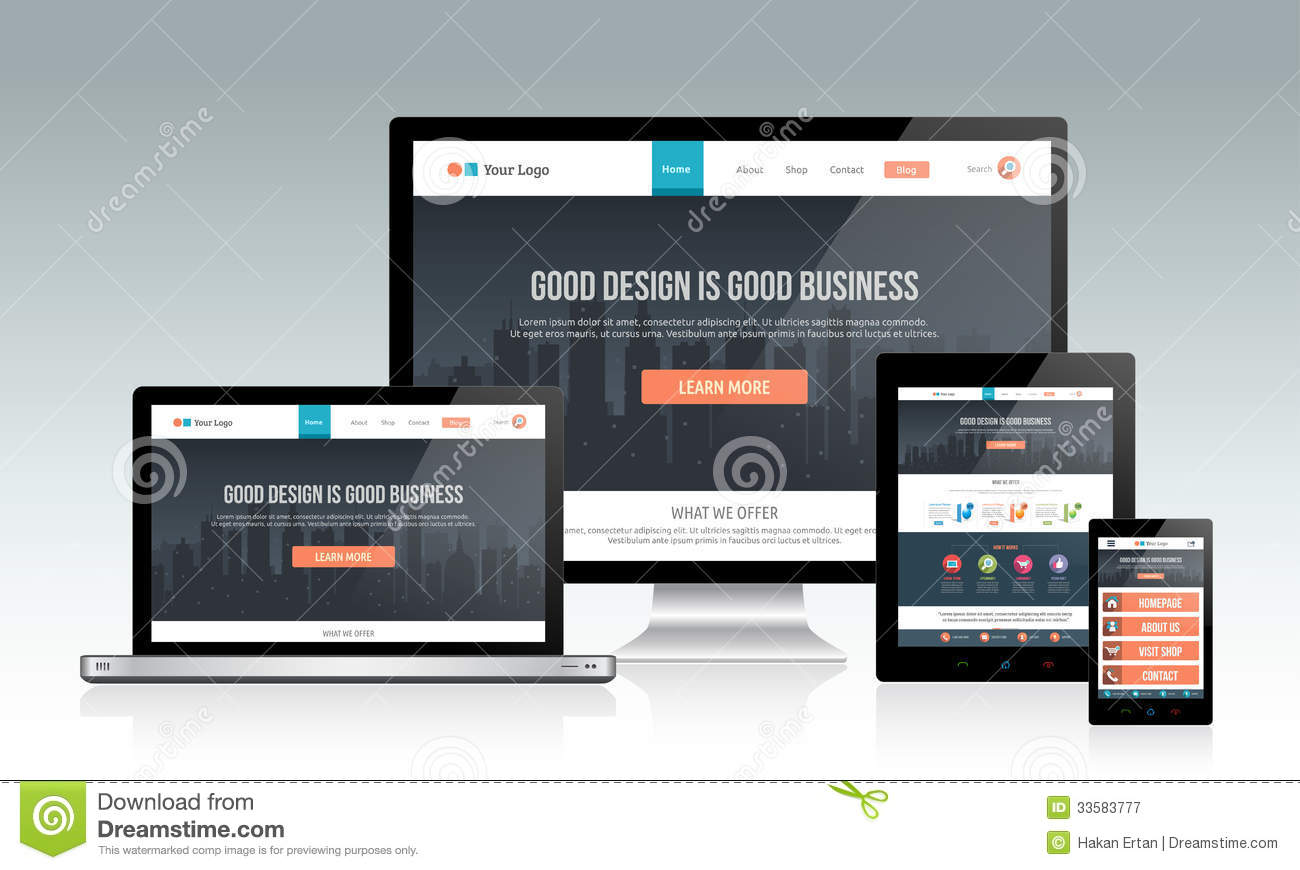 responsive website template on multiple devices stock