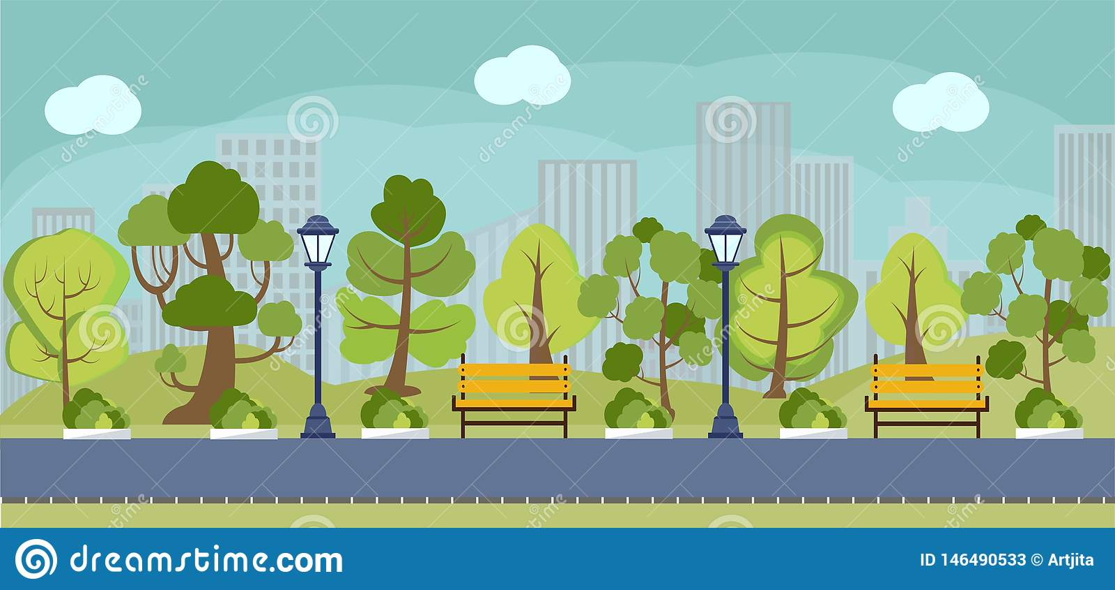 Ressort de bande dessin?e ou panorama de parc d ?t?
