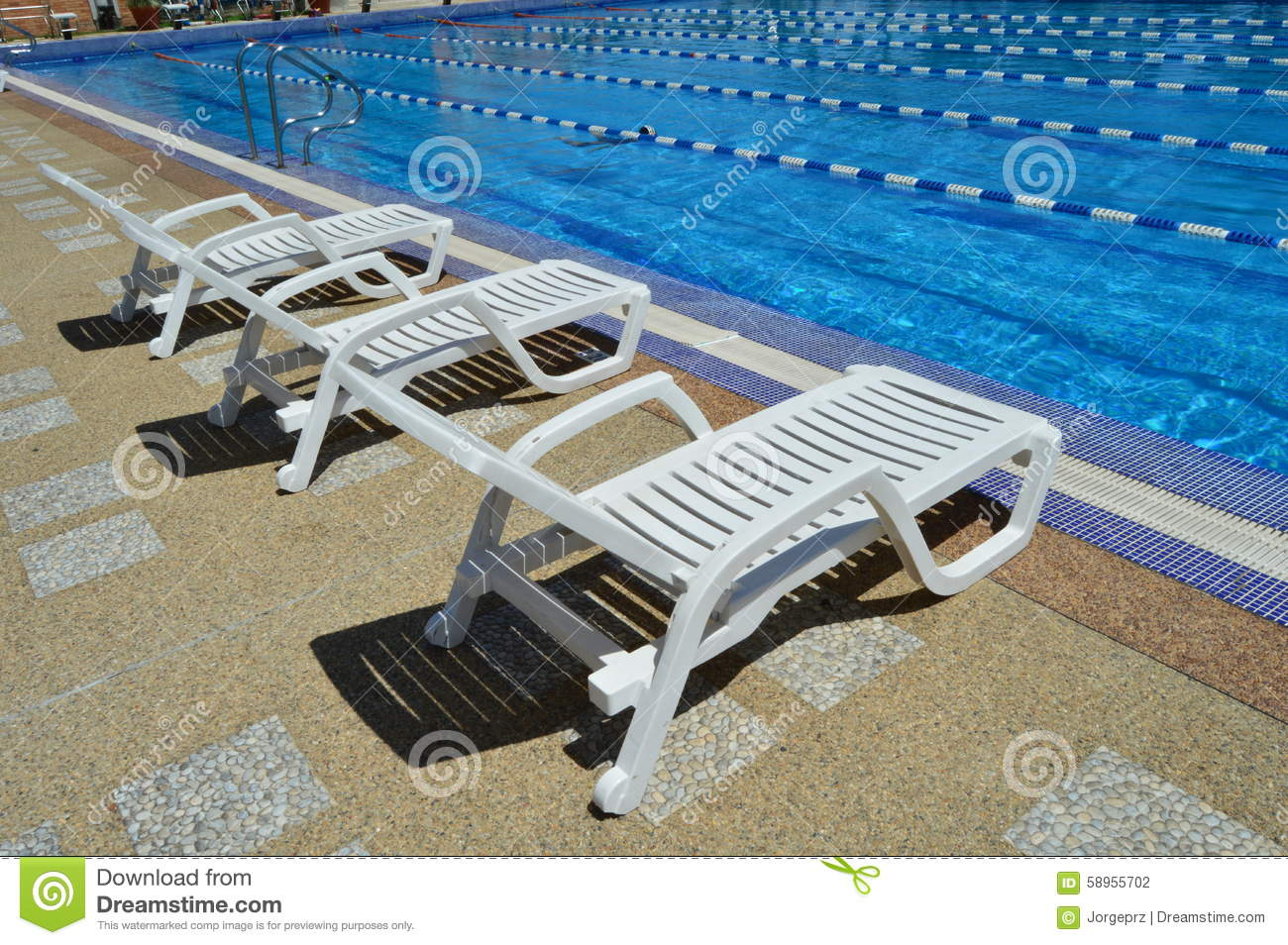 Rest chairs by the pool stock photo image 58955702 for Sillas para piscina
