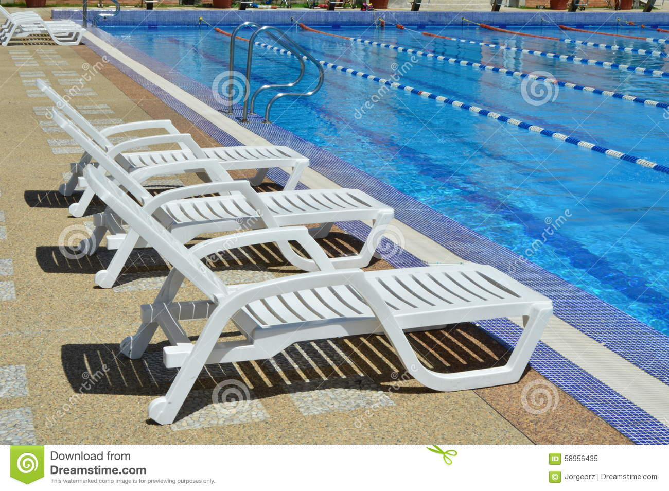 Rest chairs by the pool. stock image. Image of pool, chair - 58956435