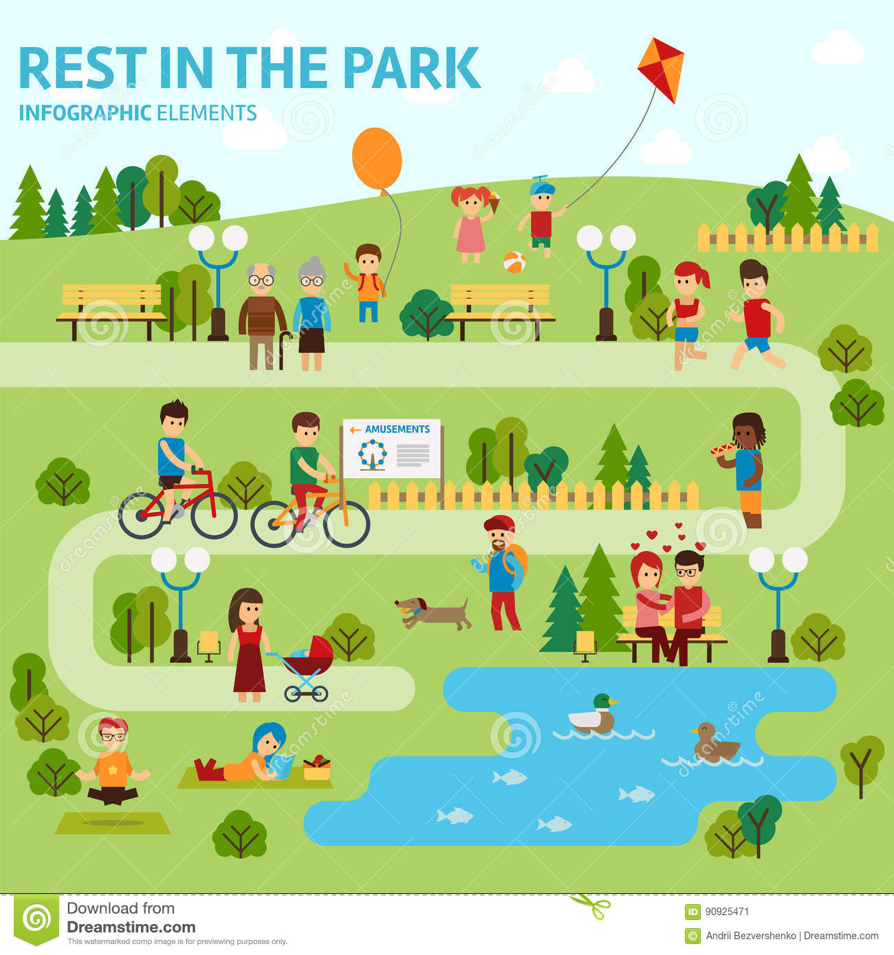Rest In The Park Infographic Elements Flat Vector Design