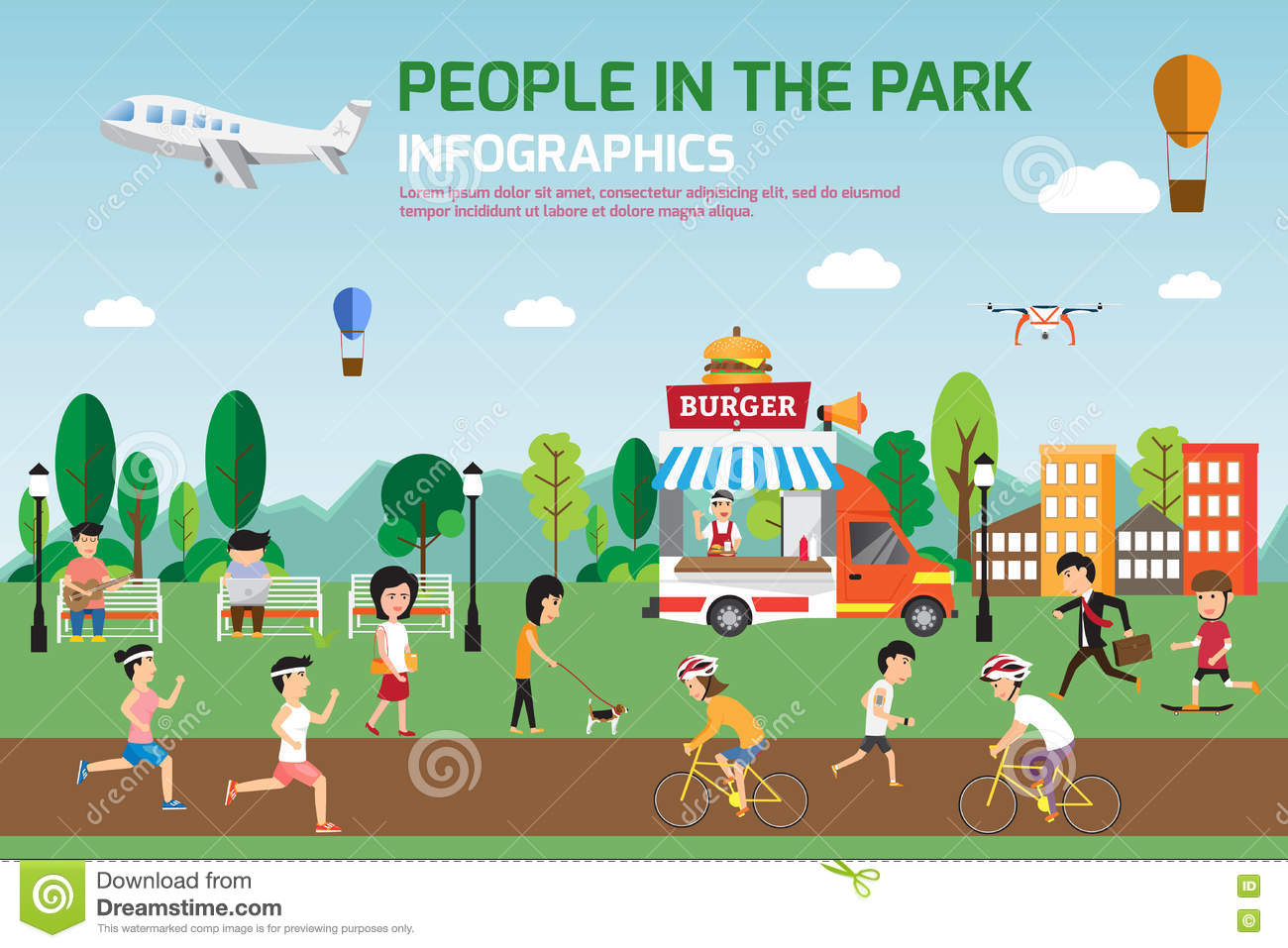 rest in the park infographic elements flat vector design  people stock vector