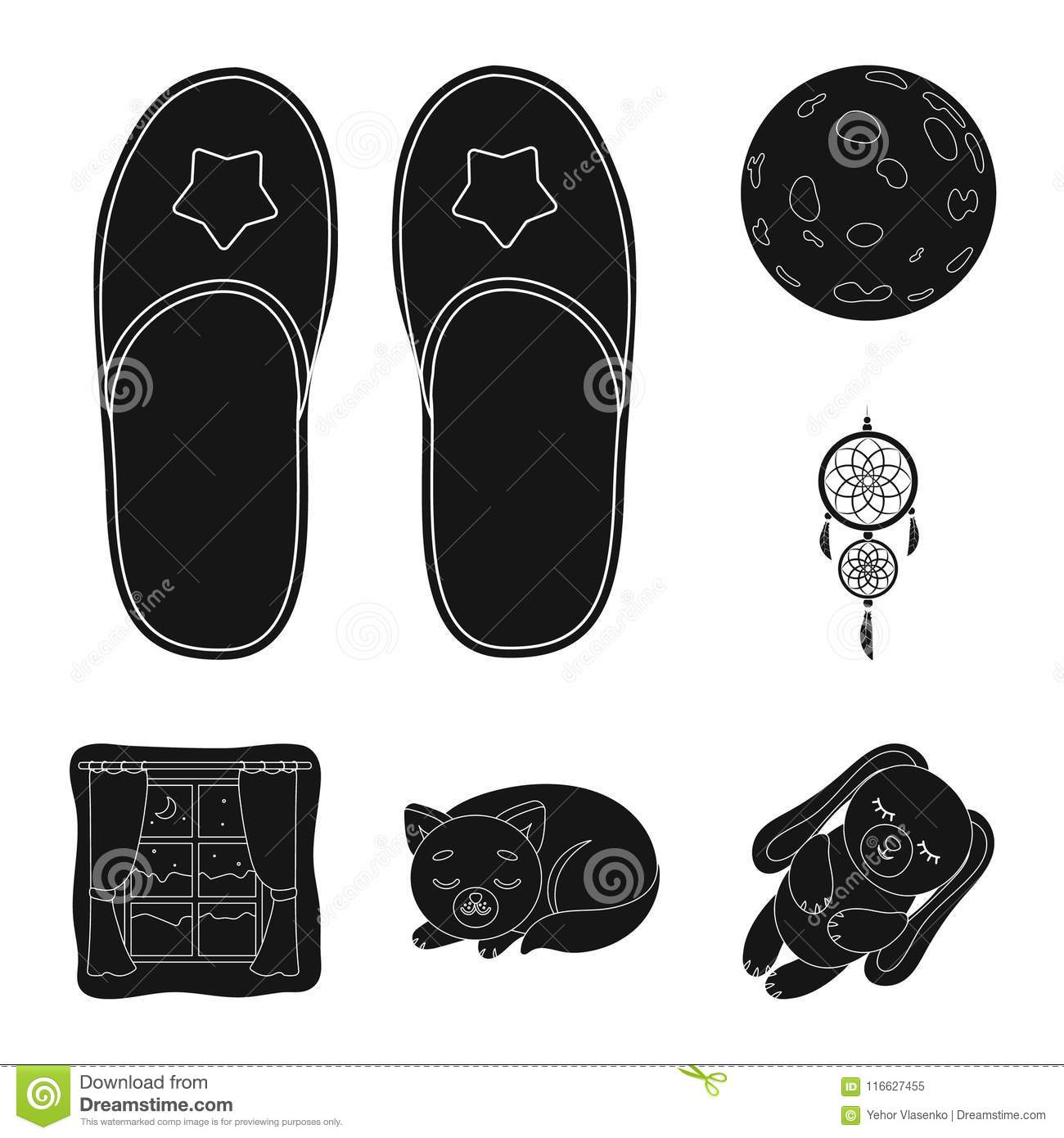 Rest And Sleep Black Icons In Set Collection For Design Accessories