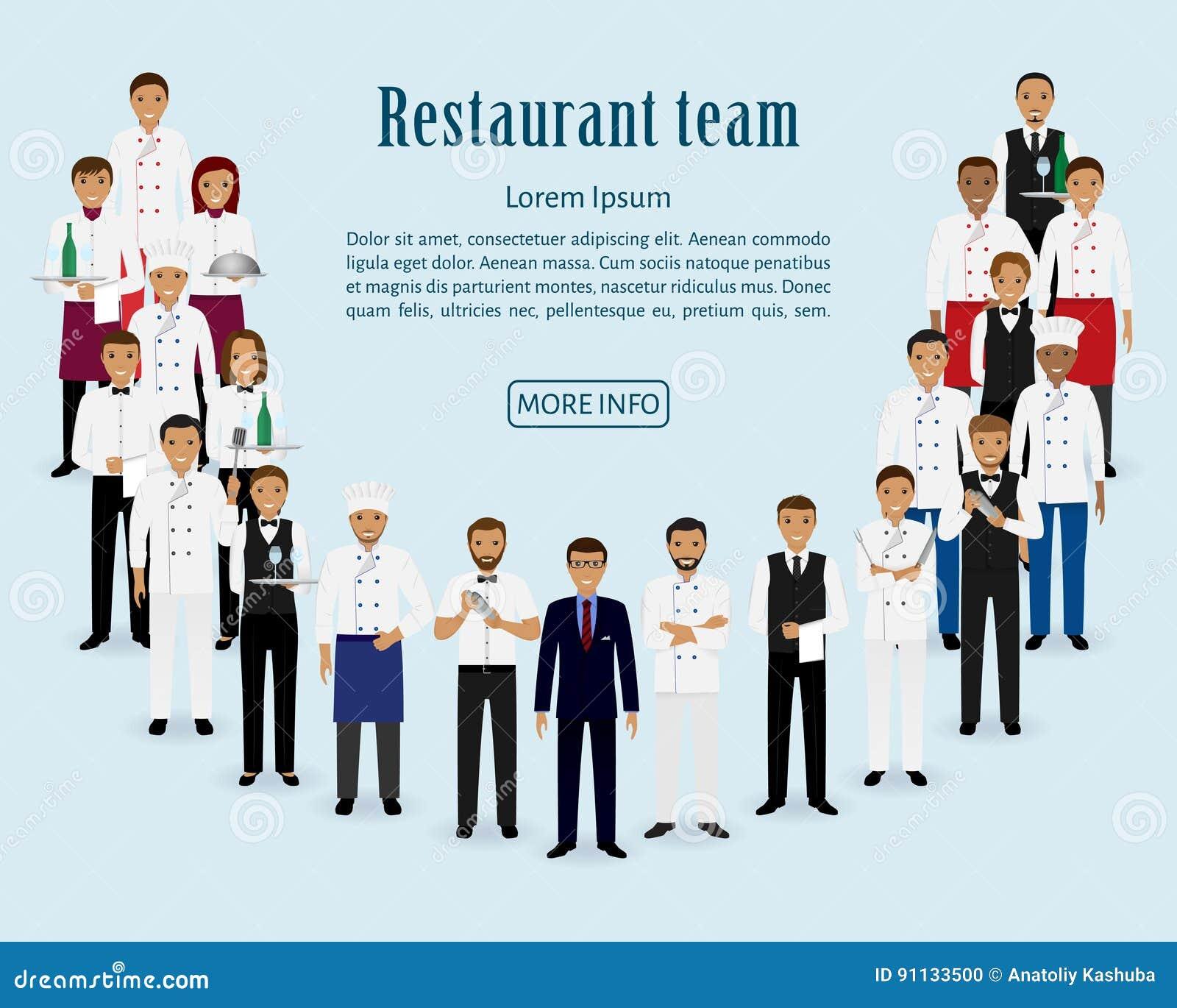 Restauraci drużyna Grupa kierownik, szef kuchni, kelnery, kucharz, barmany stoi wpólnie Gastronomii strony internetowej pięciolin