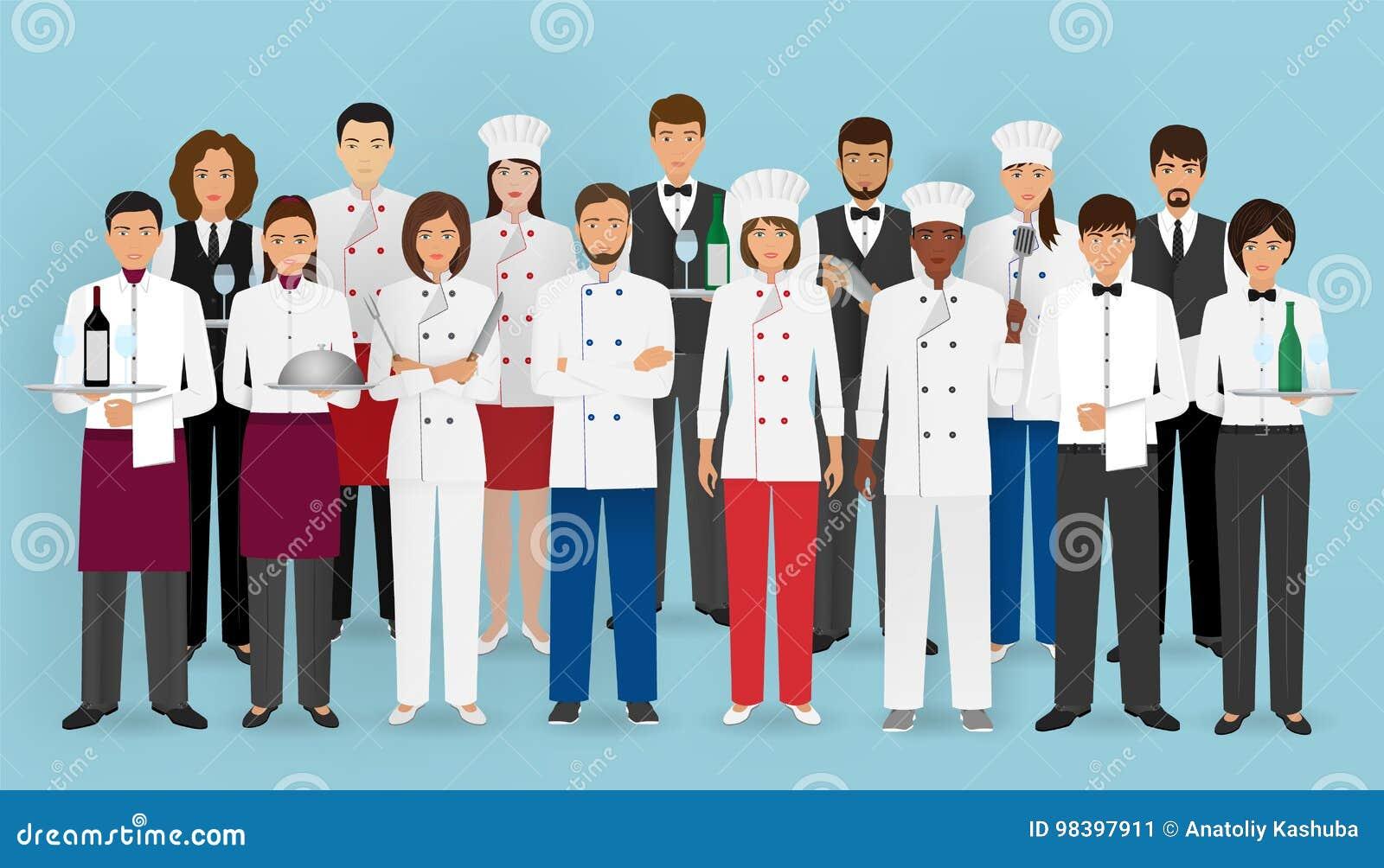 Restauraci drużynowy pojęcie w mundurze Grupa catering usługa charaktery: szef kuchni, kucharz, kelnery i barman,