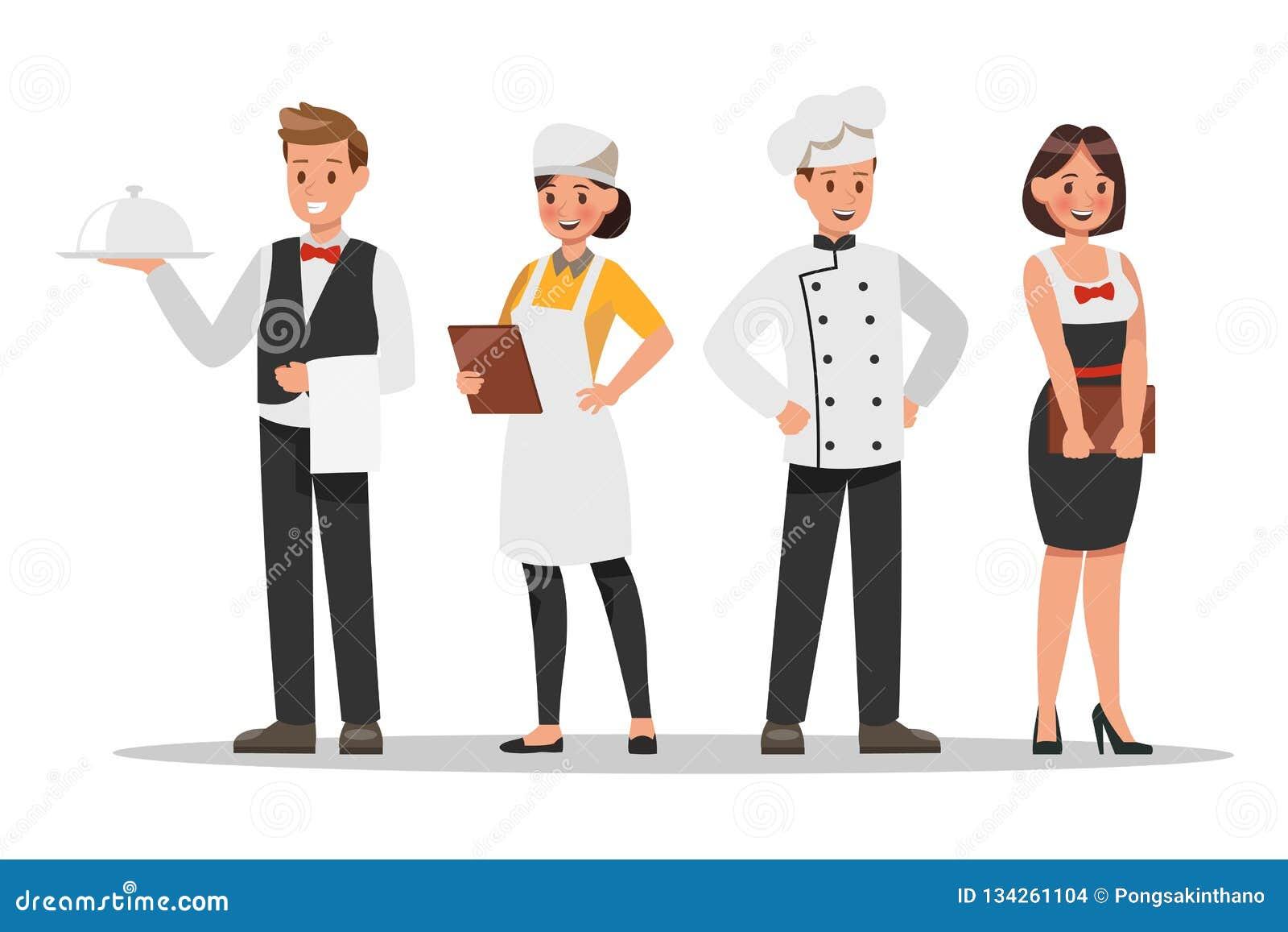 Restauracja charakterów pięcioliniowy projekt Zawiera szefa kuchni, asystenci, kierownik, kelnerka Profesjonalista drużyna