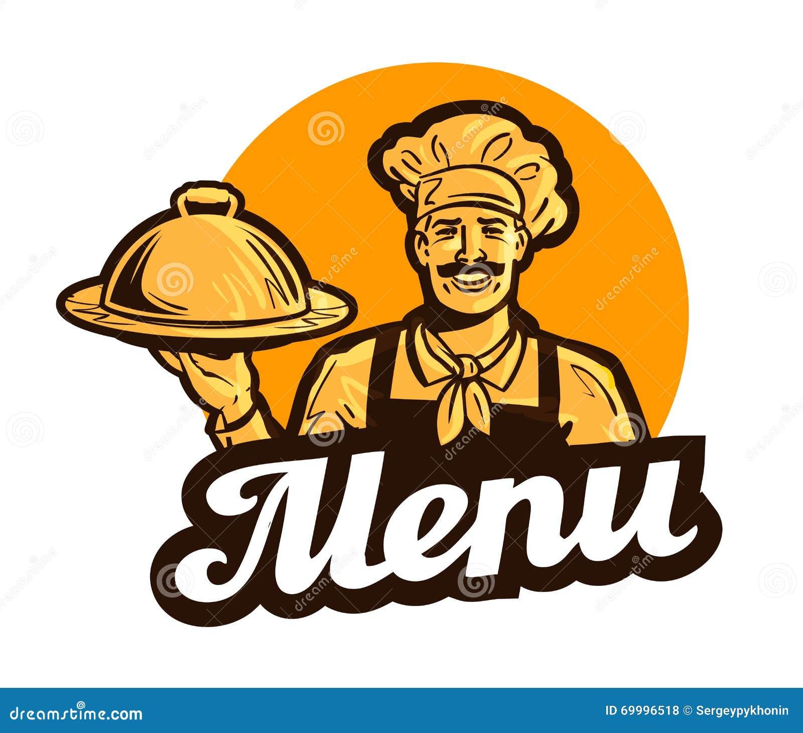 Restauracja, cukierniany wektorowy logo menu, naczynie, jedzenie lub kucharz, szef kuchni ikona