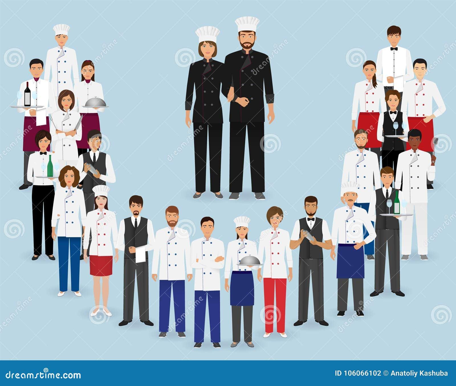 Restauracja personel w mundurze Grupa catering usługa charaktery: szef kuchni, kucharz, kelnery i barman,