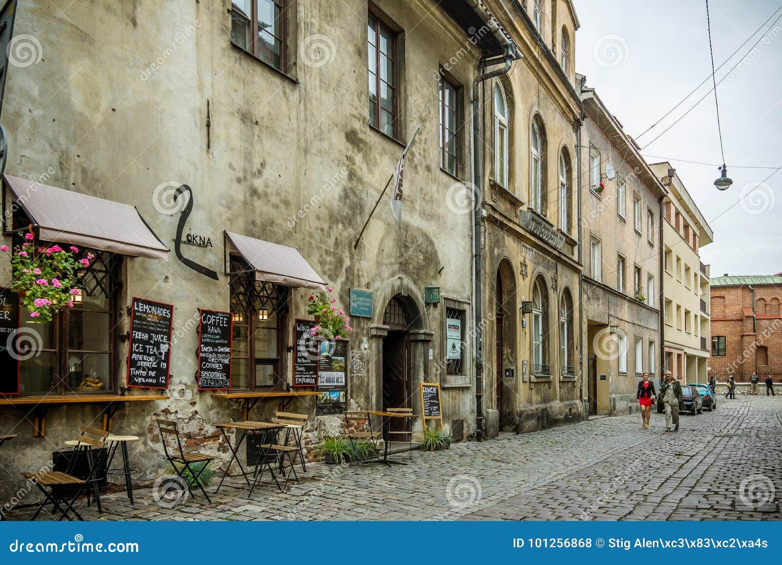 Restauracja w żydowskim okręgu w Krakow