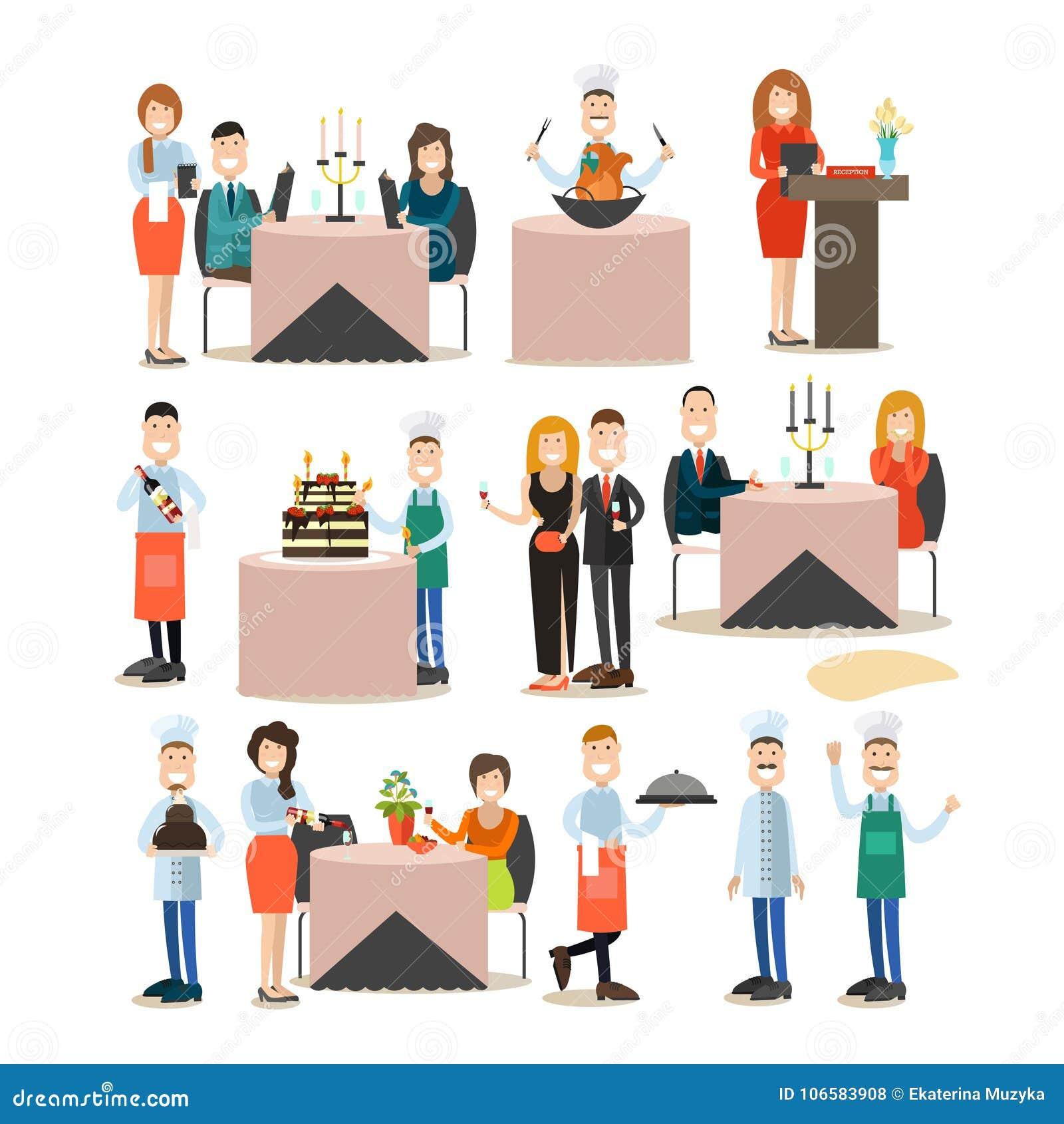 Restauracyjni ludzie wektorowego płaskiego ikona setu