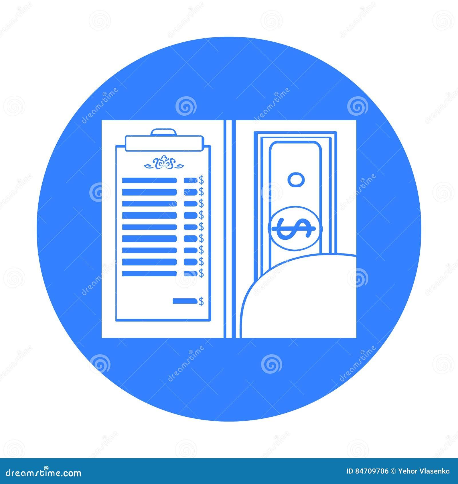 Restauracyjny kwit z gotówkową ikoną w czerń stylu odizolowywającym na białym tle Restauracyjny symbolu zapasu wektor
