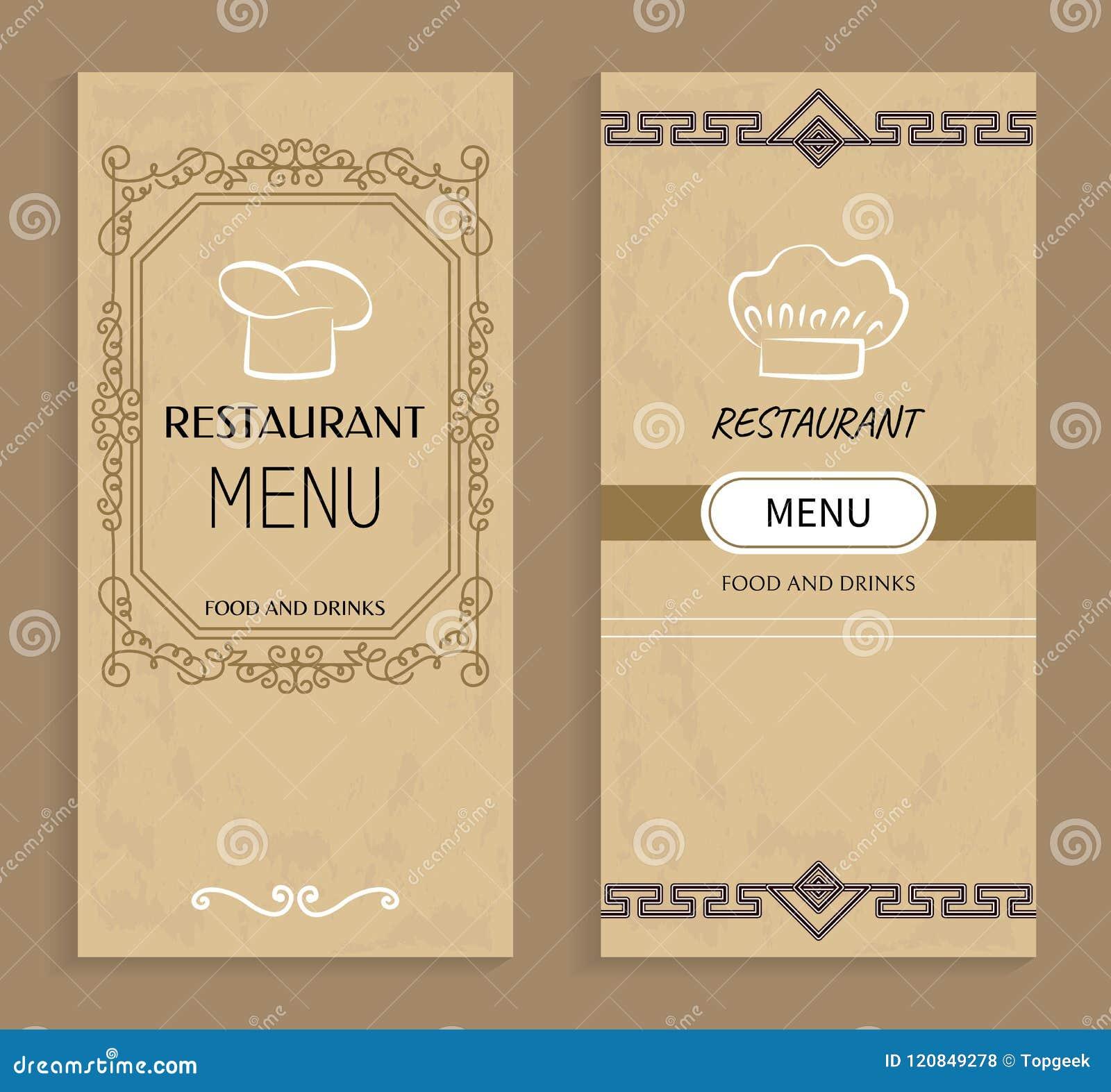 Restauracyjny menu z napojami i Karmowymi szablonami