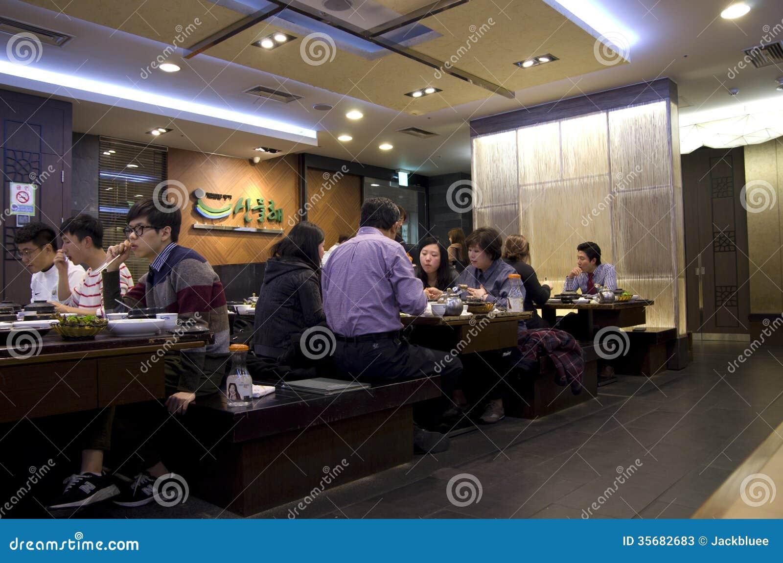 Restauracyjny Seoul Korea koreański łomota gość restauracji