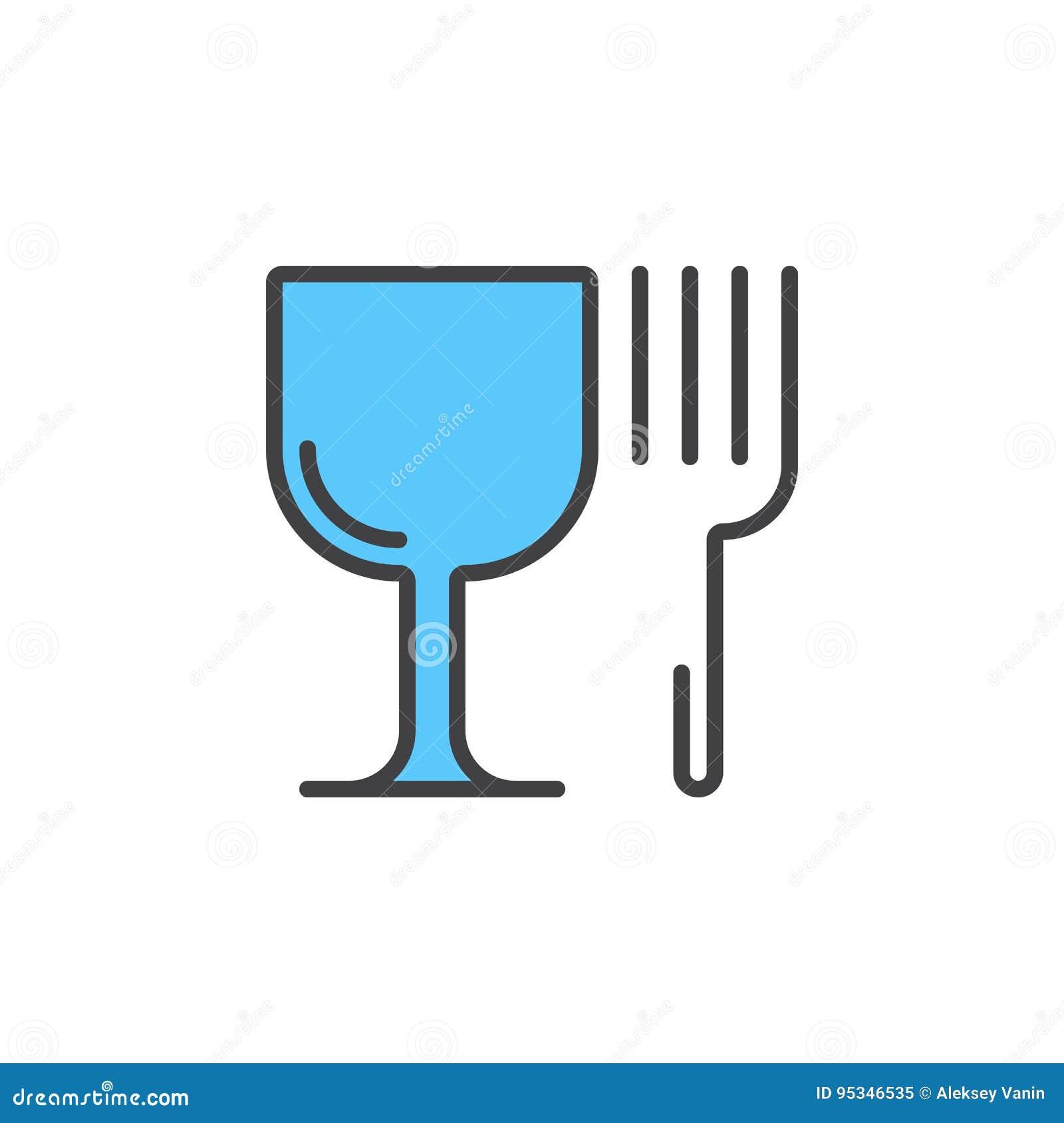 Restauracyjny symbol Wineglass i rozwidlenia kreskowa ikona, wypełniający kontur