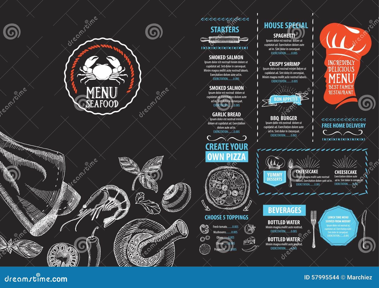 Restaurangkafémeny, malldesign Matreklamblad