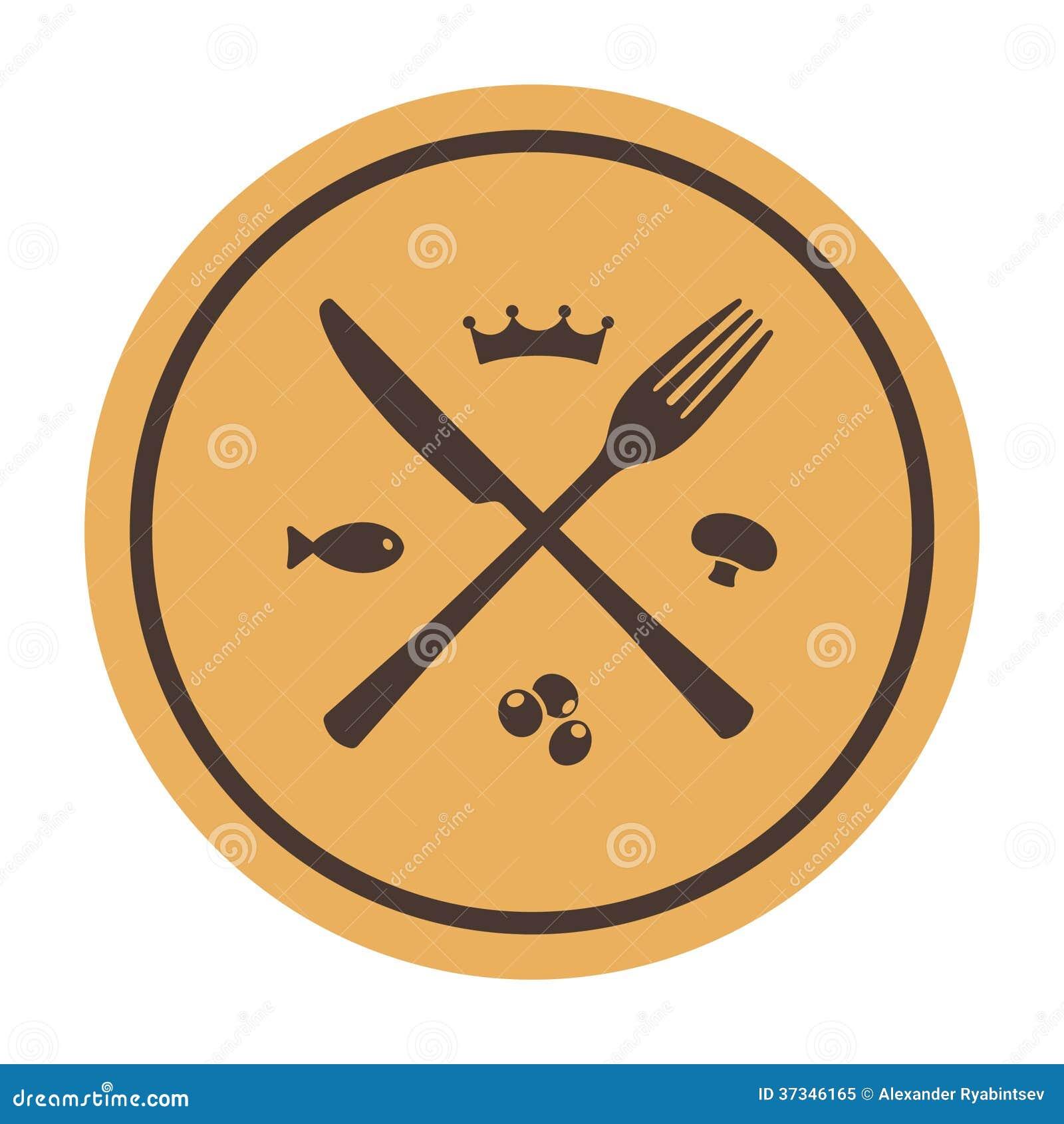 Restaurangsymbol. Korsad gaffel och kniv