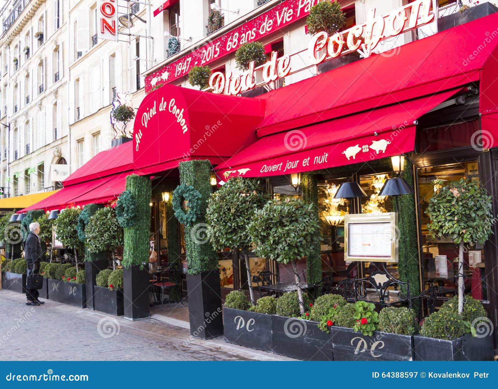 The Restaurant Au Pied Du Cochon Paris France Editorial