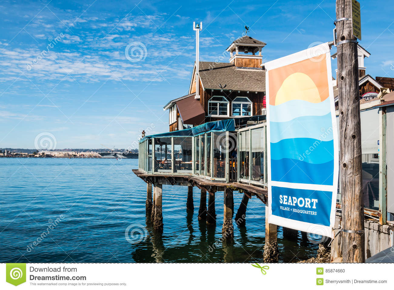 Restaurant And Banner At Seaport Village In San Diego Editorial Image Image Of Commerce Architecture 85874660
