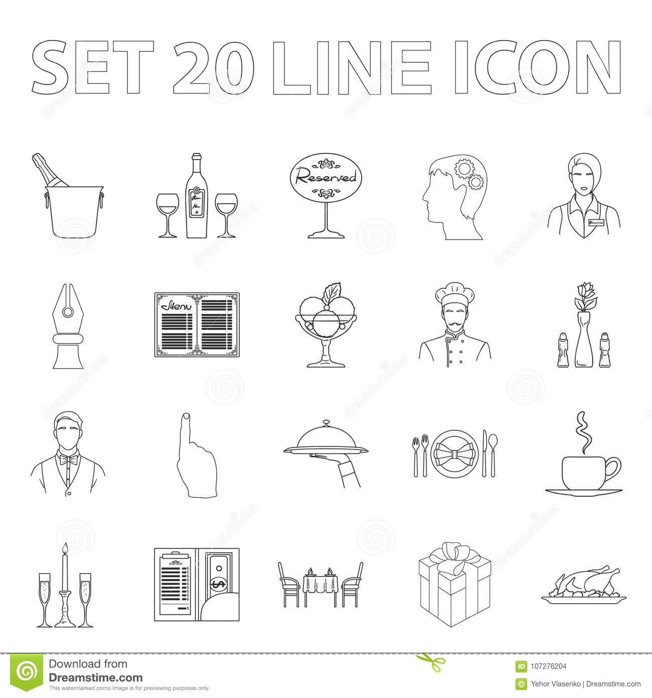 Restaurant And Bar Outline Icons In Set Collection Stock Vector